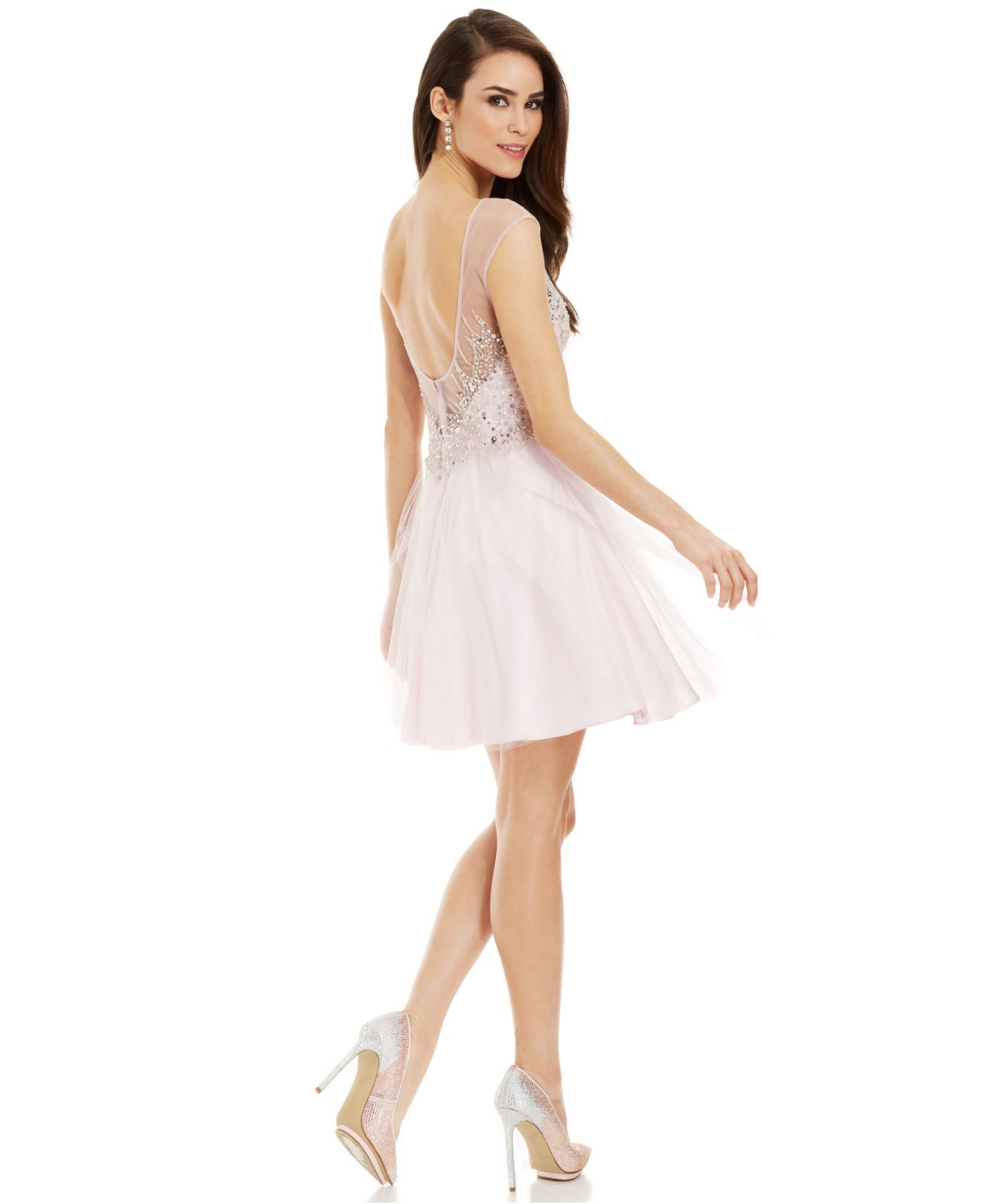 70e0afa2a024 Betsy & Adam Illusion Embellished Sweetheart Dress in Pink - Lyst