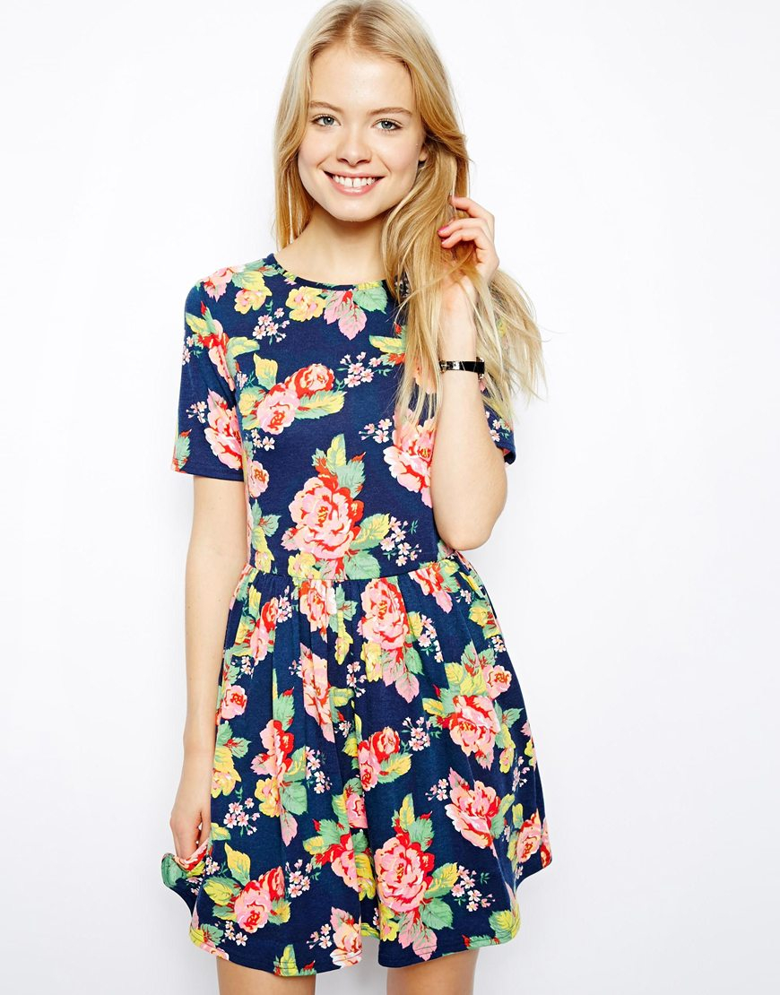 Asos Skater Dress In Pretty Floral Print in Blue | Lyst