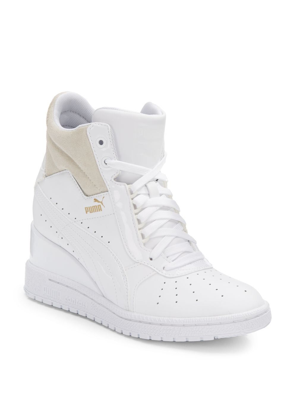 Lyst - PUMA Advantage Leather Wedge Sneakers in White 75f12c3c17fc