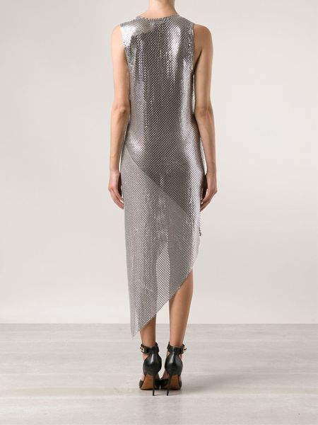 Silver Metallic Dress Chainmail Dress in Silver