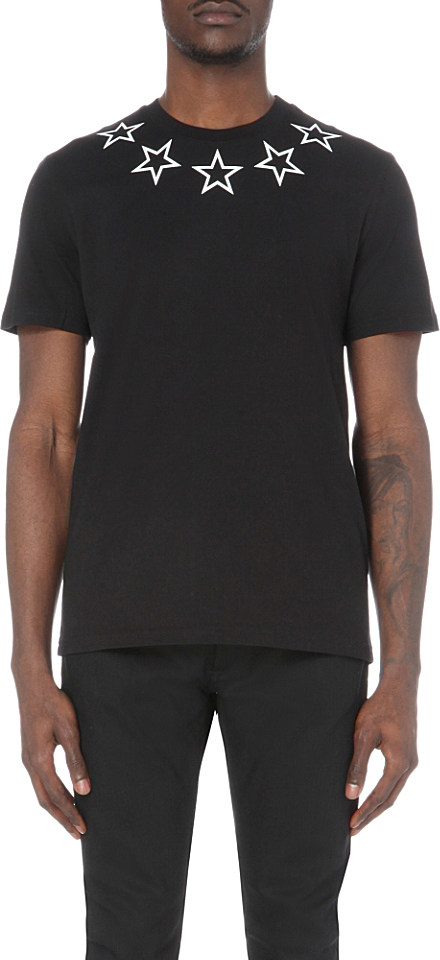 Givenchy star print cotton jersey t shirt in black for men for Givenchy star t shirt