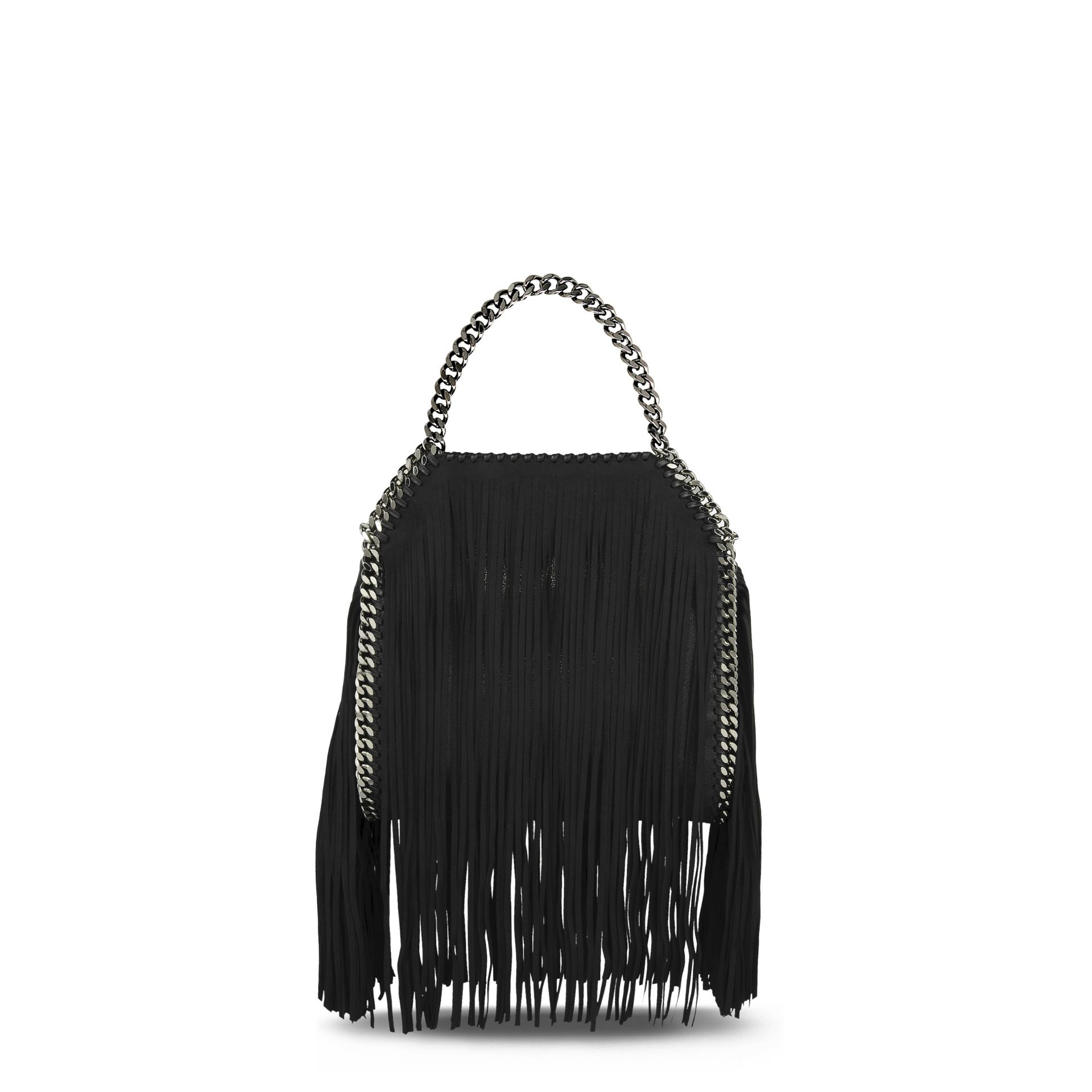 c74e27e50604 Lyst - Stella McCartney Black Falabella Shaggy Deer Fringed Mini ...