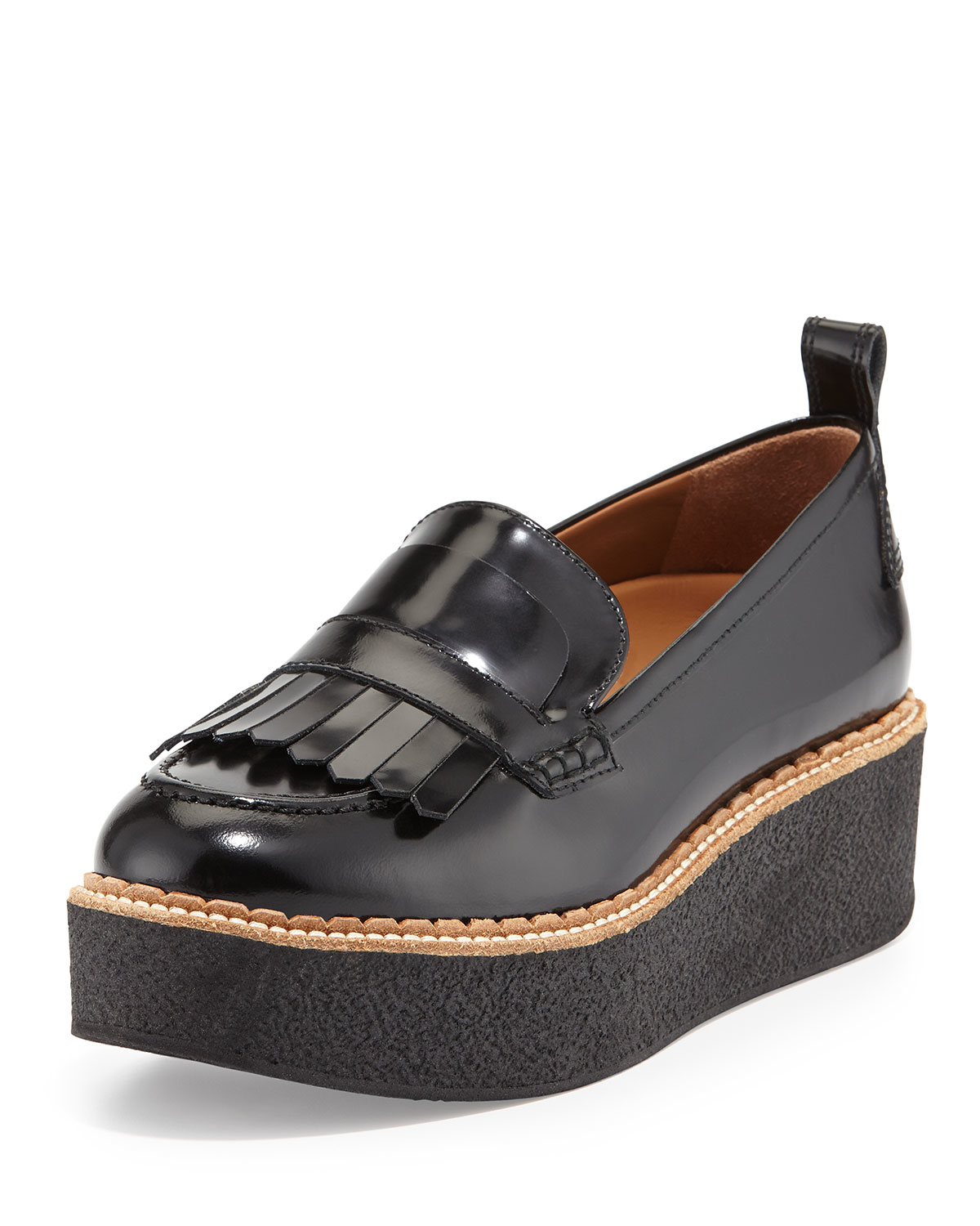Flamingos Wellington Leather Fringe Platform Loafer In