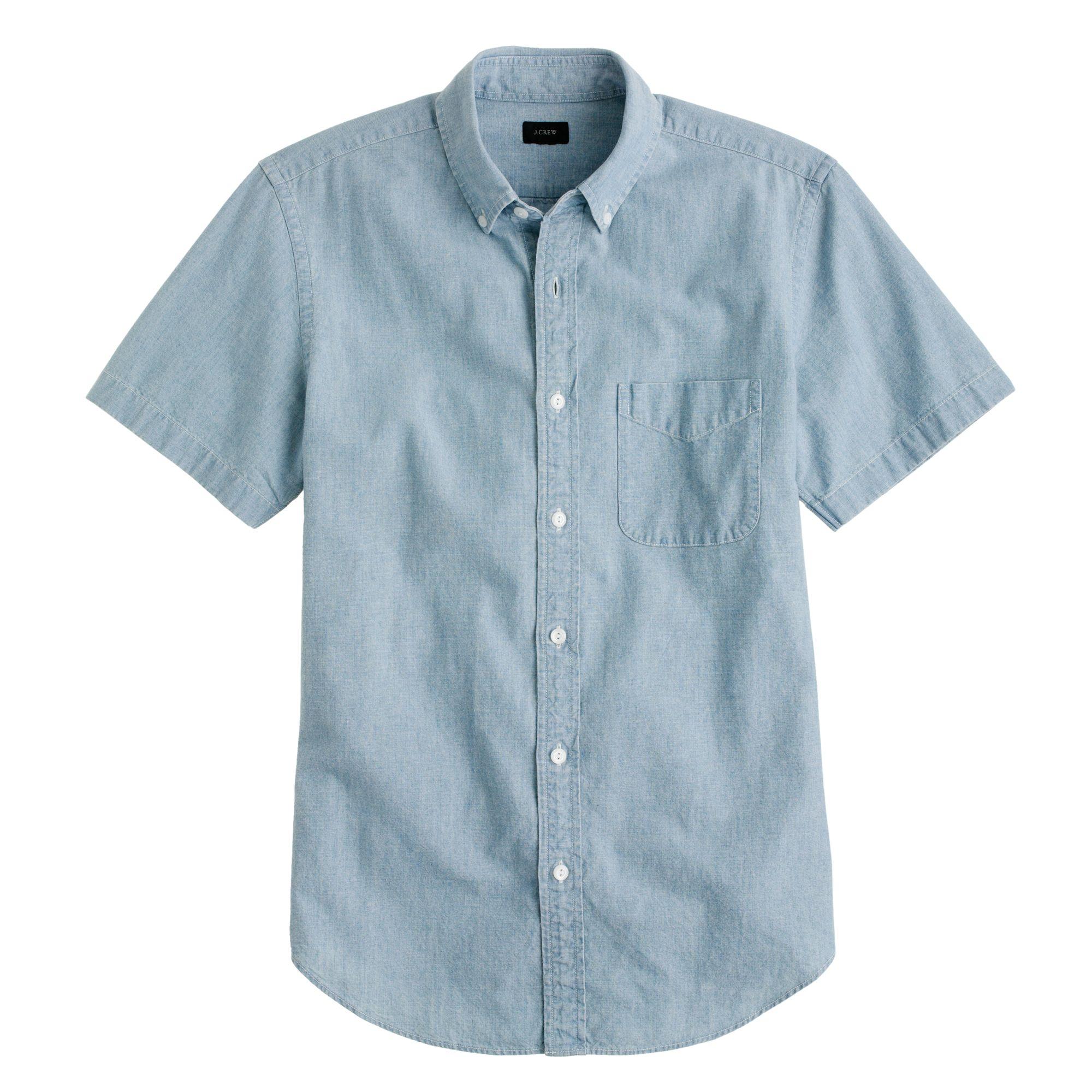 Tall Short Sleeve Shirt In Japanese Indigo Chambray