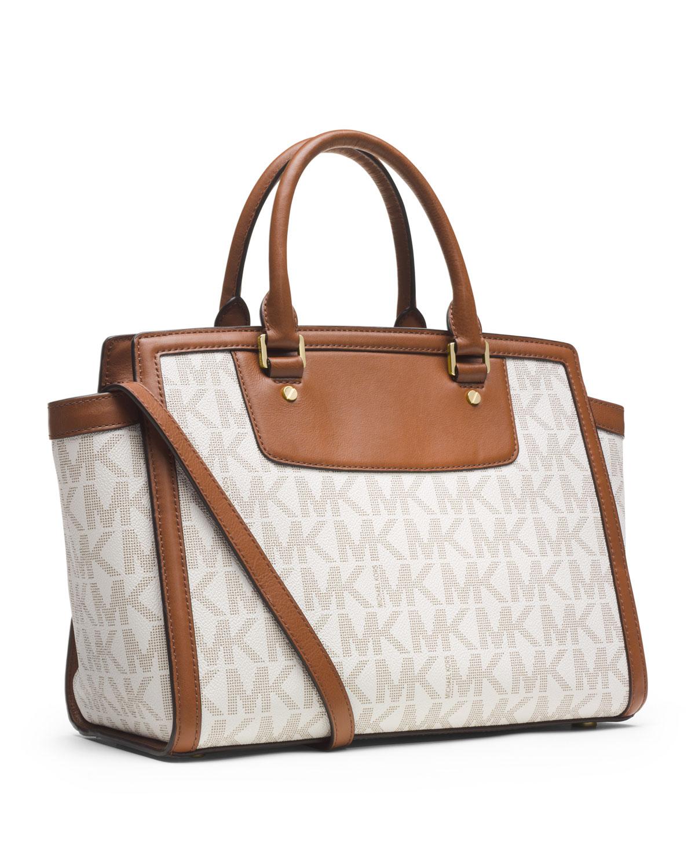 michael kors michael large selma topzip satchel in brown vanilla car interior design. Black Bedroom Furniture Sets. Home Design Ideas