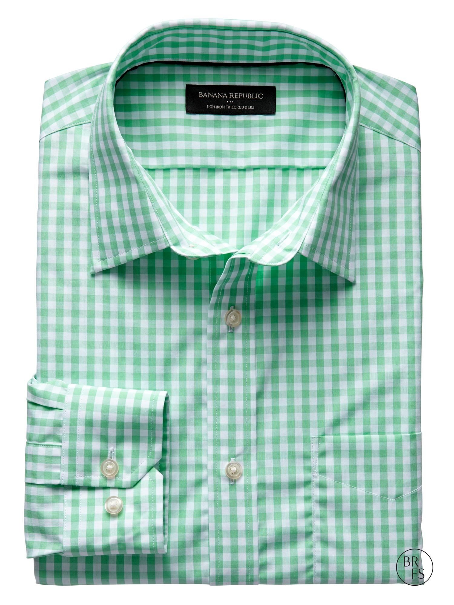 Banana Republic Factory Tailored Slim Fit Non Iron Gingham