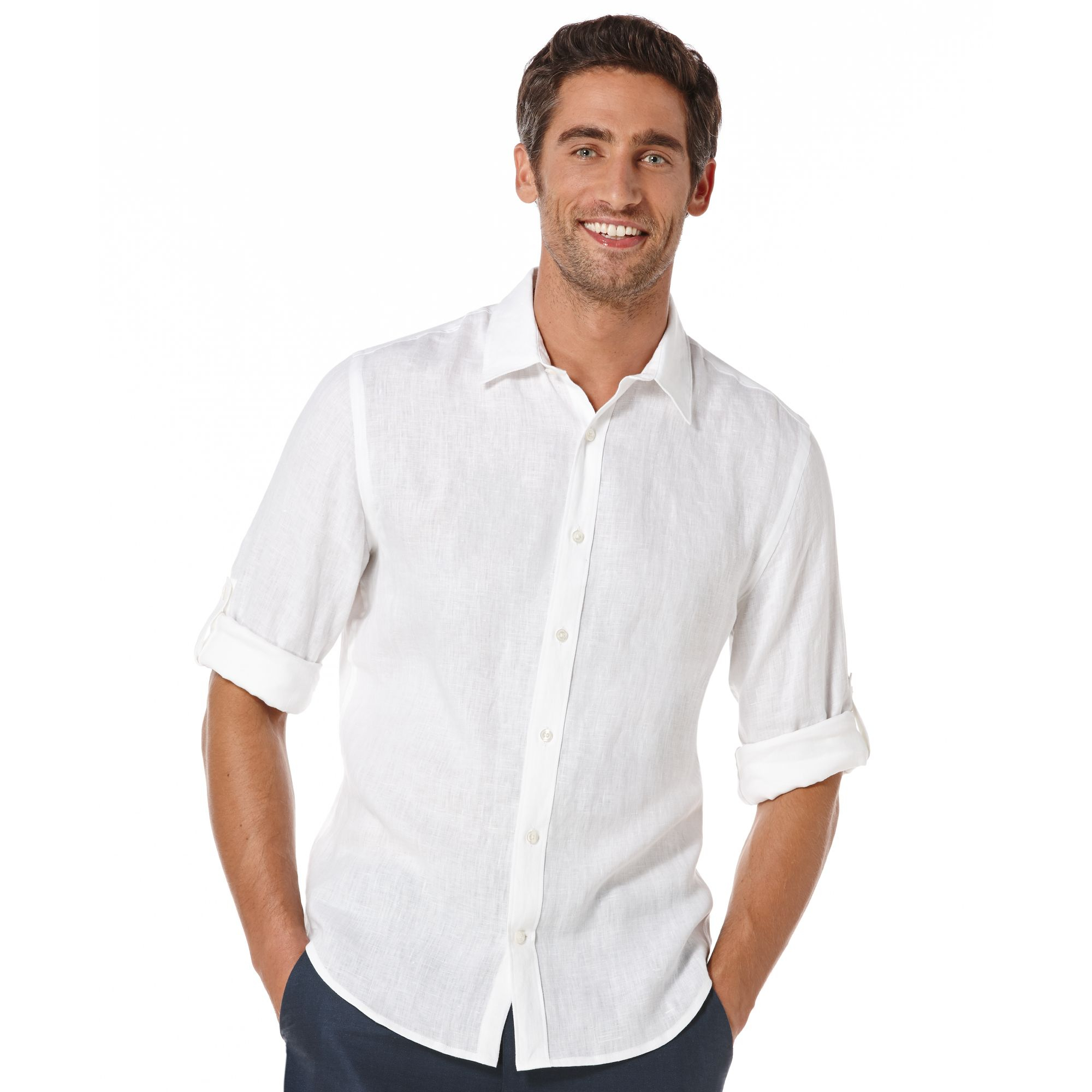 Perry Ellis Big And Tall Linen Shirt In White For Men