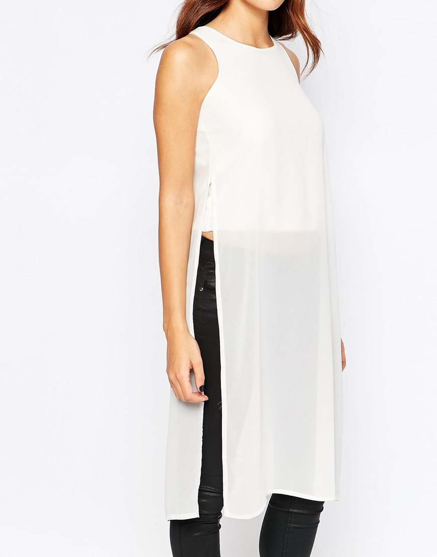b6094f21751a7 Lyst - AX Paris Longline Tunic Top With Side Splits in White