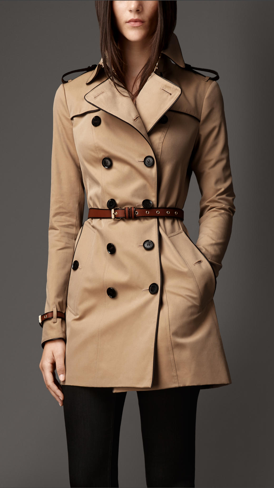 Burberry Mid-Length Leather Trim Trench Coat in Natural | Lyst