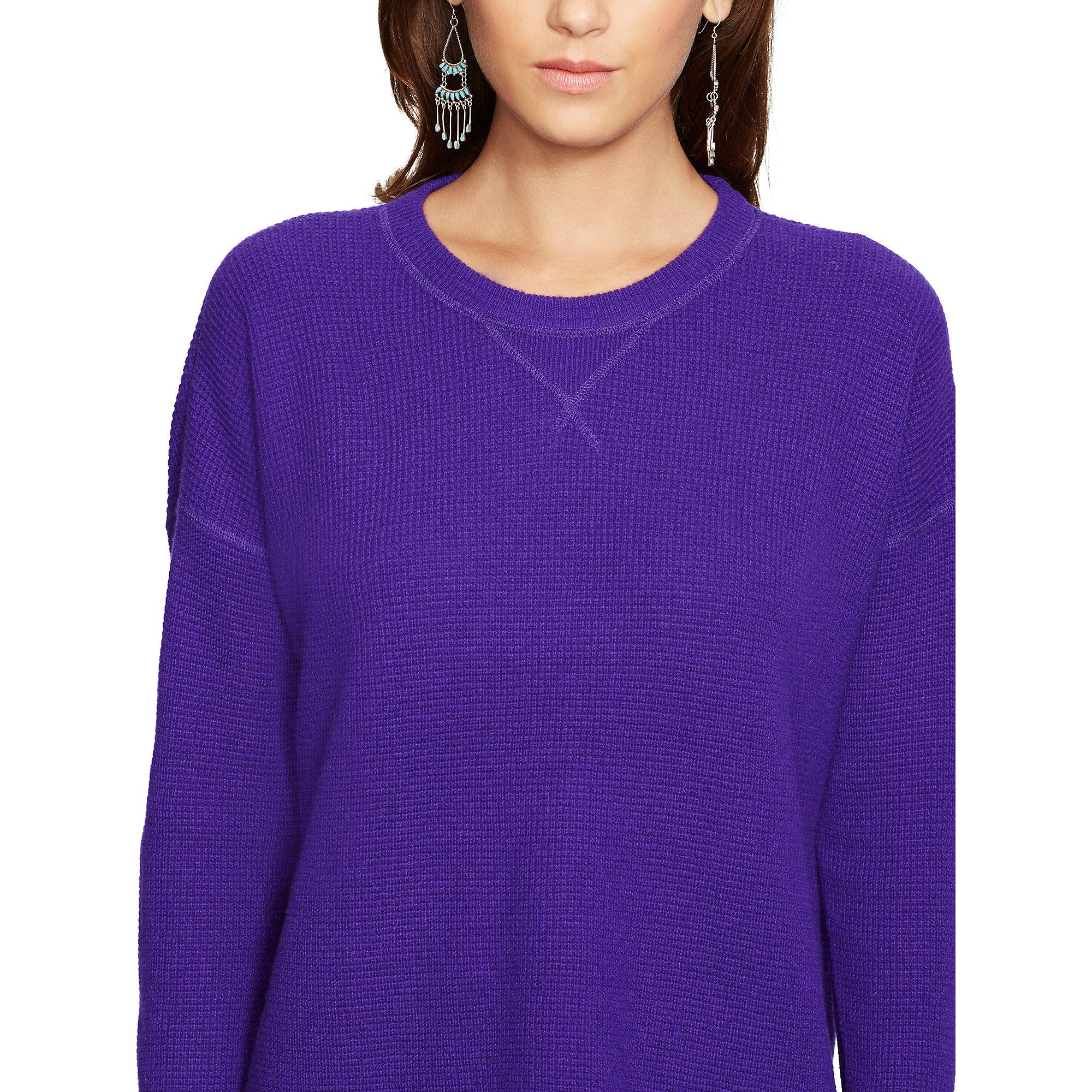 Polo ralph lauren Waffle-knit Cashmere Sweater in Purple | Lyst