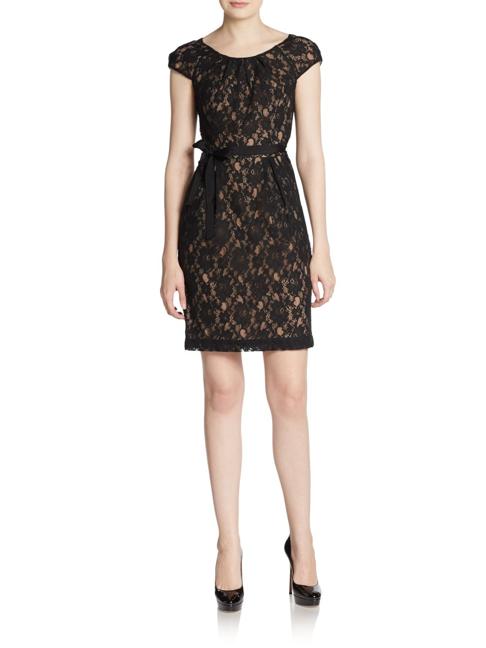 bcbgmaxazria rory belted lace dress in black lyst