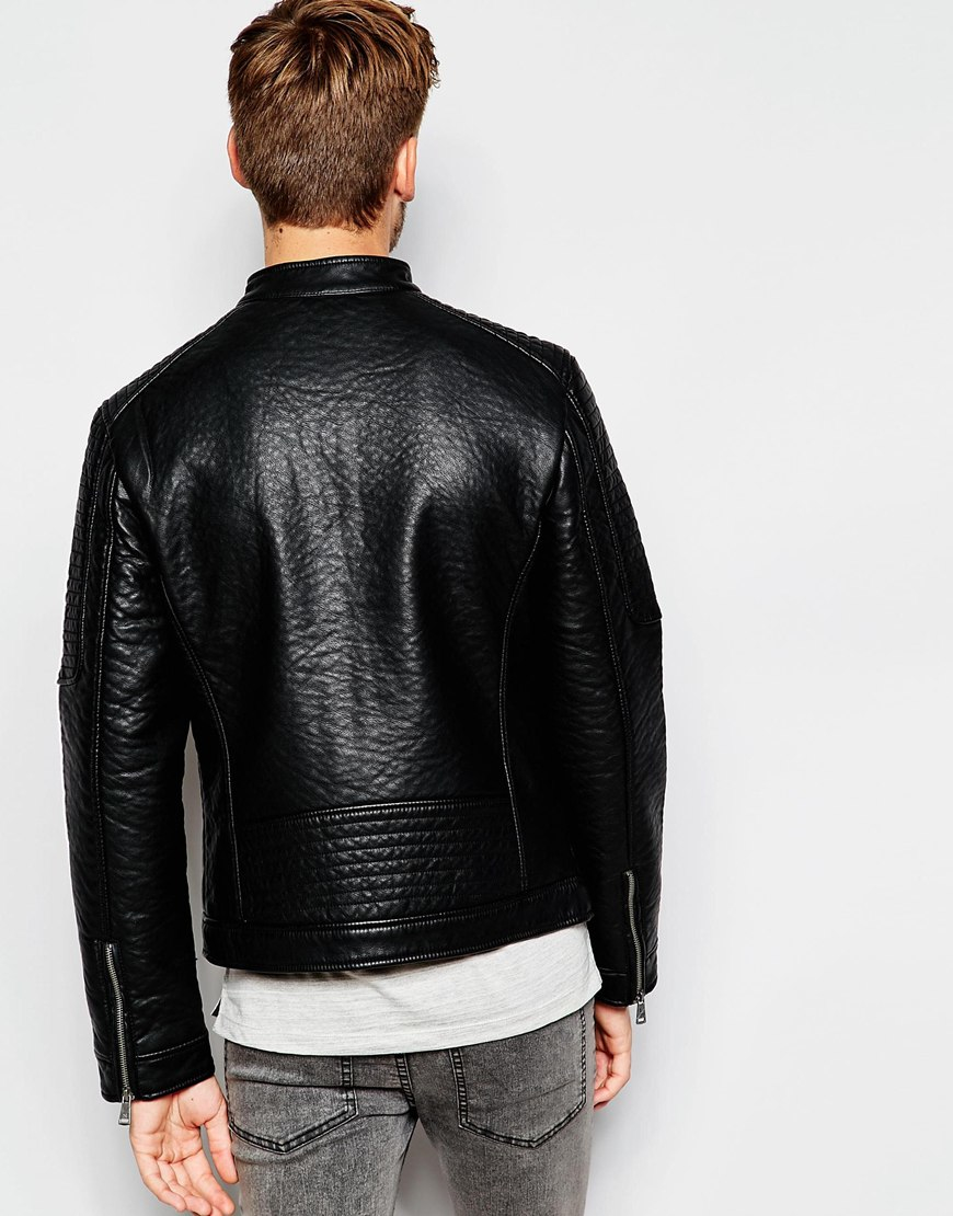 Lyst Esprit Faux Leather Jacket With Quilted Sleeves In Black For Men
