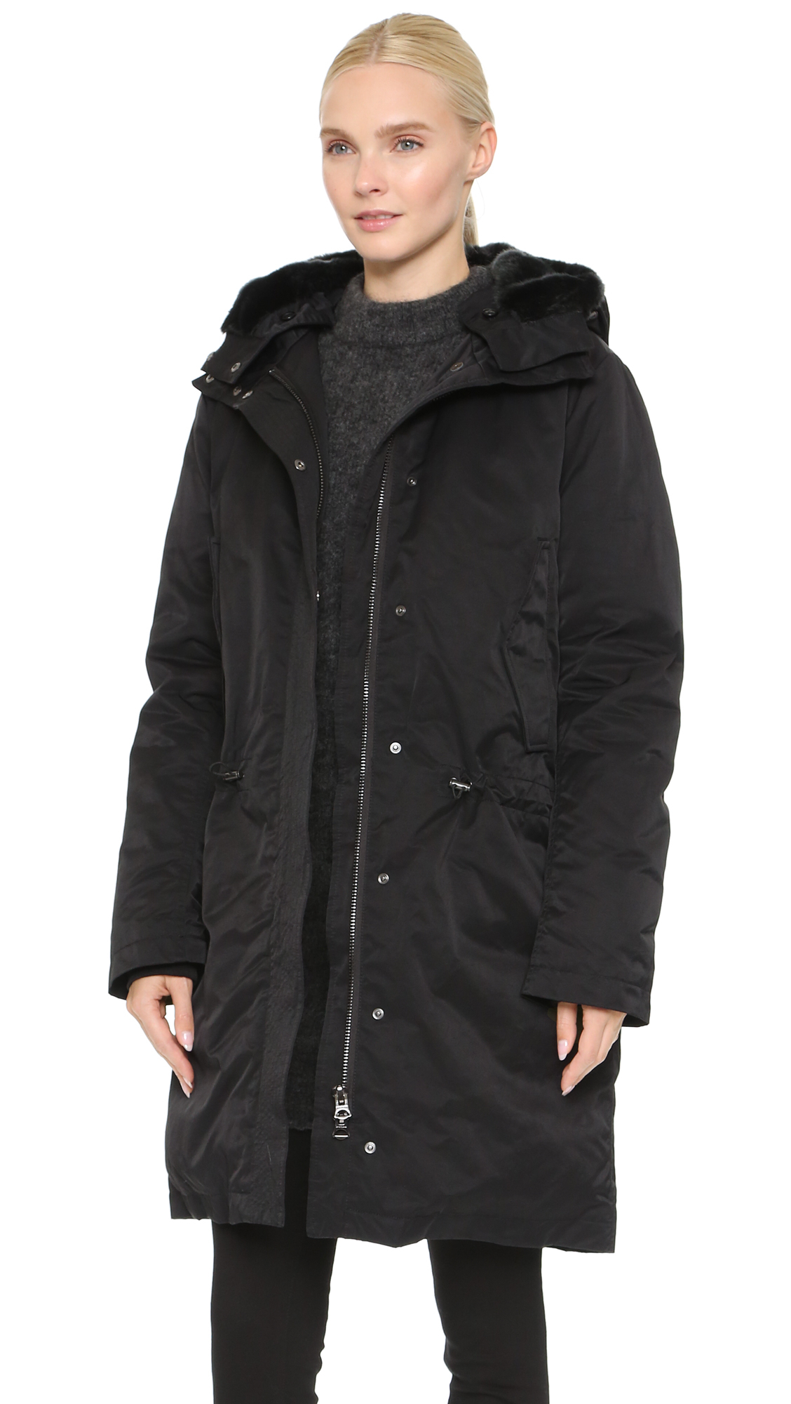 Lyst Acne Studios New Powder Parka Black In Black
