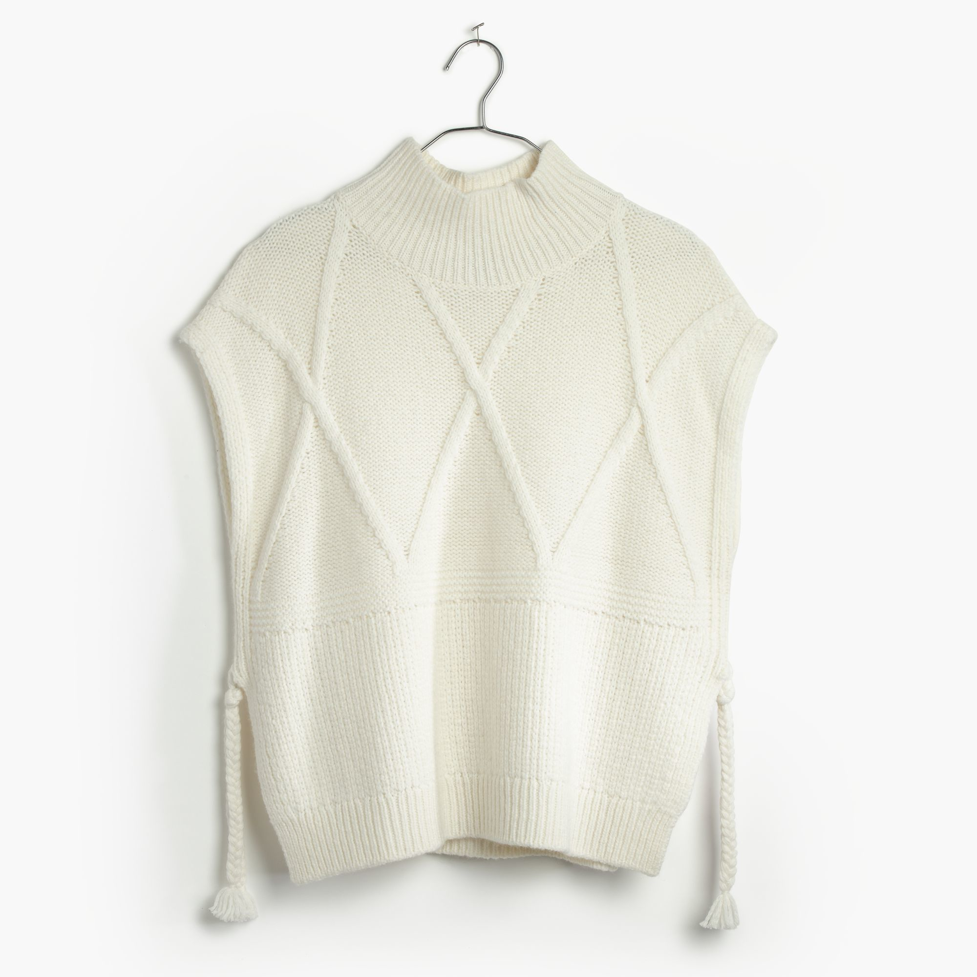 Madewell Cableknit Side-tie Sweater-vest in Natural | Lyst