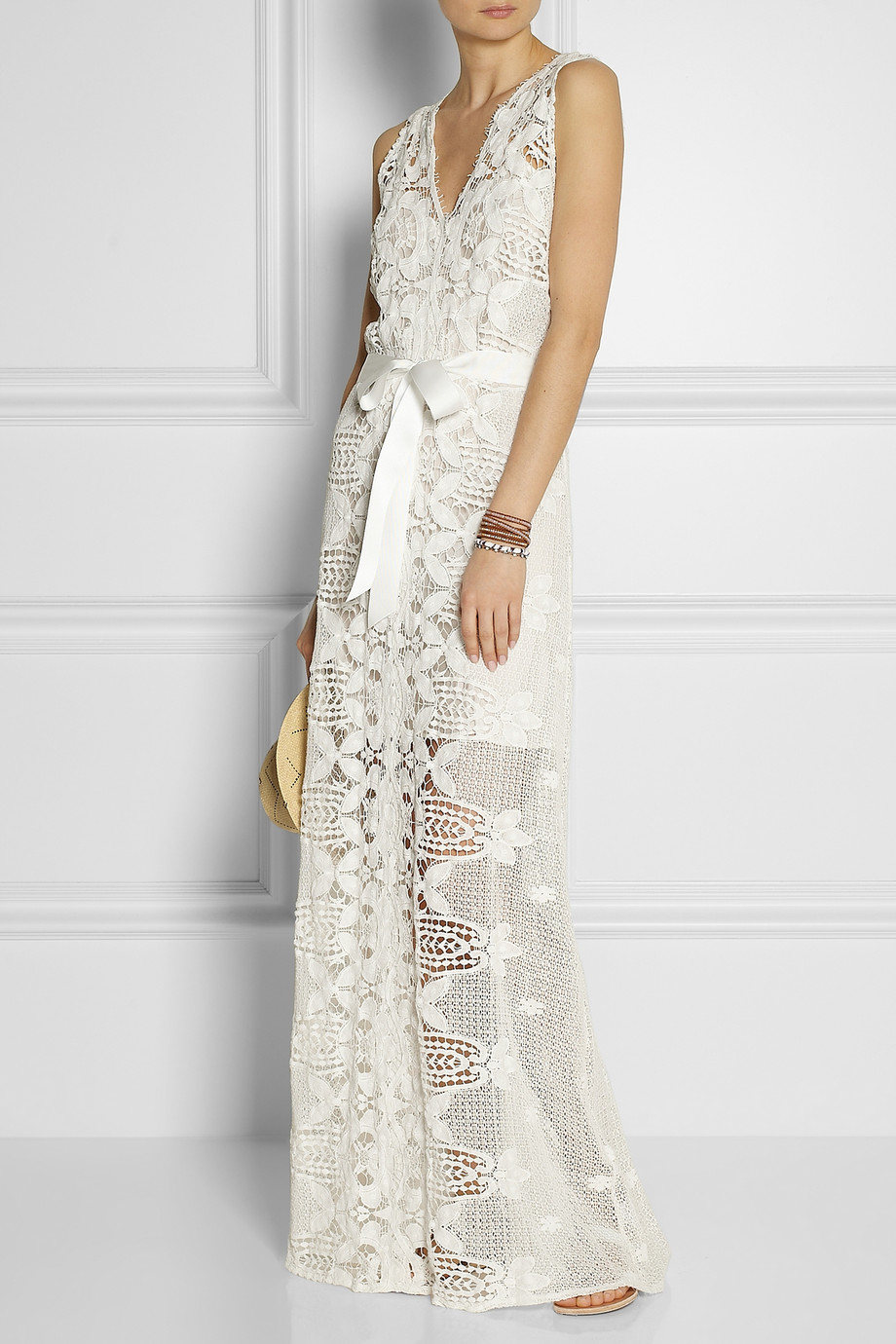 Miguelina Eve Crocheted-Lace Maxi Dress in White - Lyst