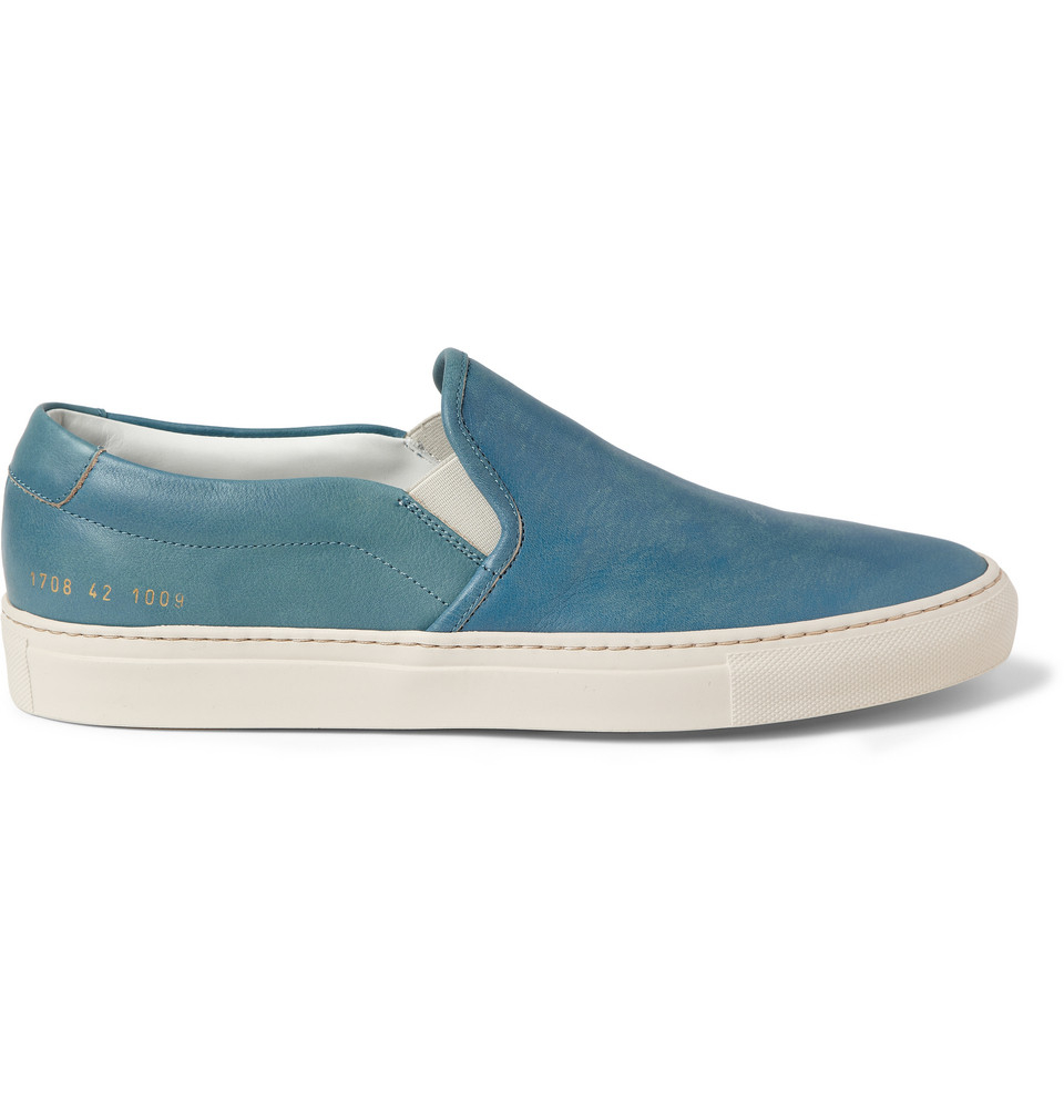 lyst common projects leather slipon sneakers in blue for men. Black Bedroom Furniture Sets. Home Design Ideas