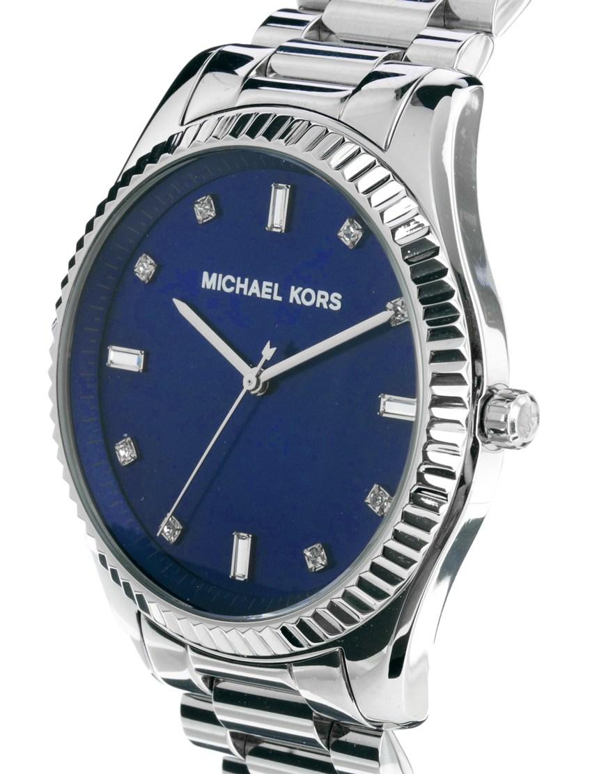 michael kors watch silver bracelet strap in blue for men lyst gallery