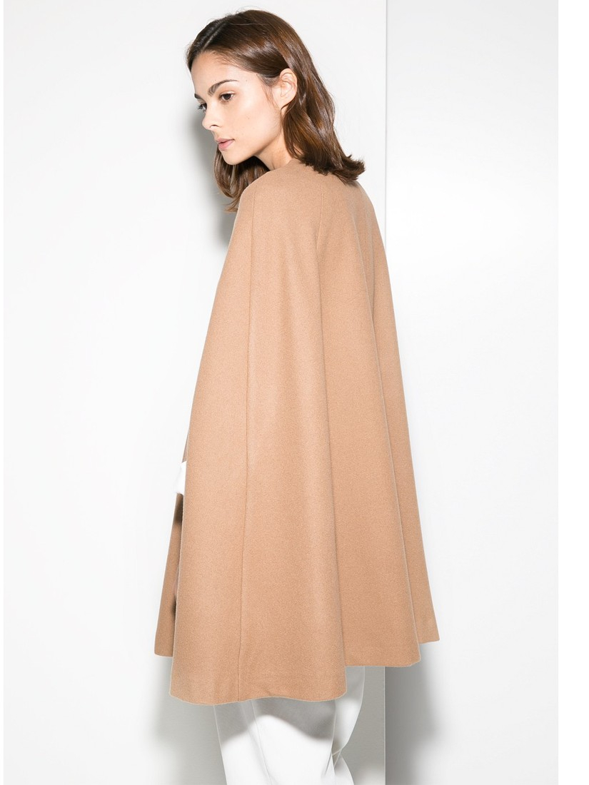 02751914a390 Mango Trimmed Wool-Blend Cape in Brown - Lyst