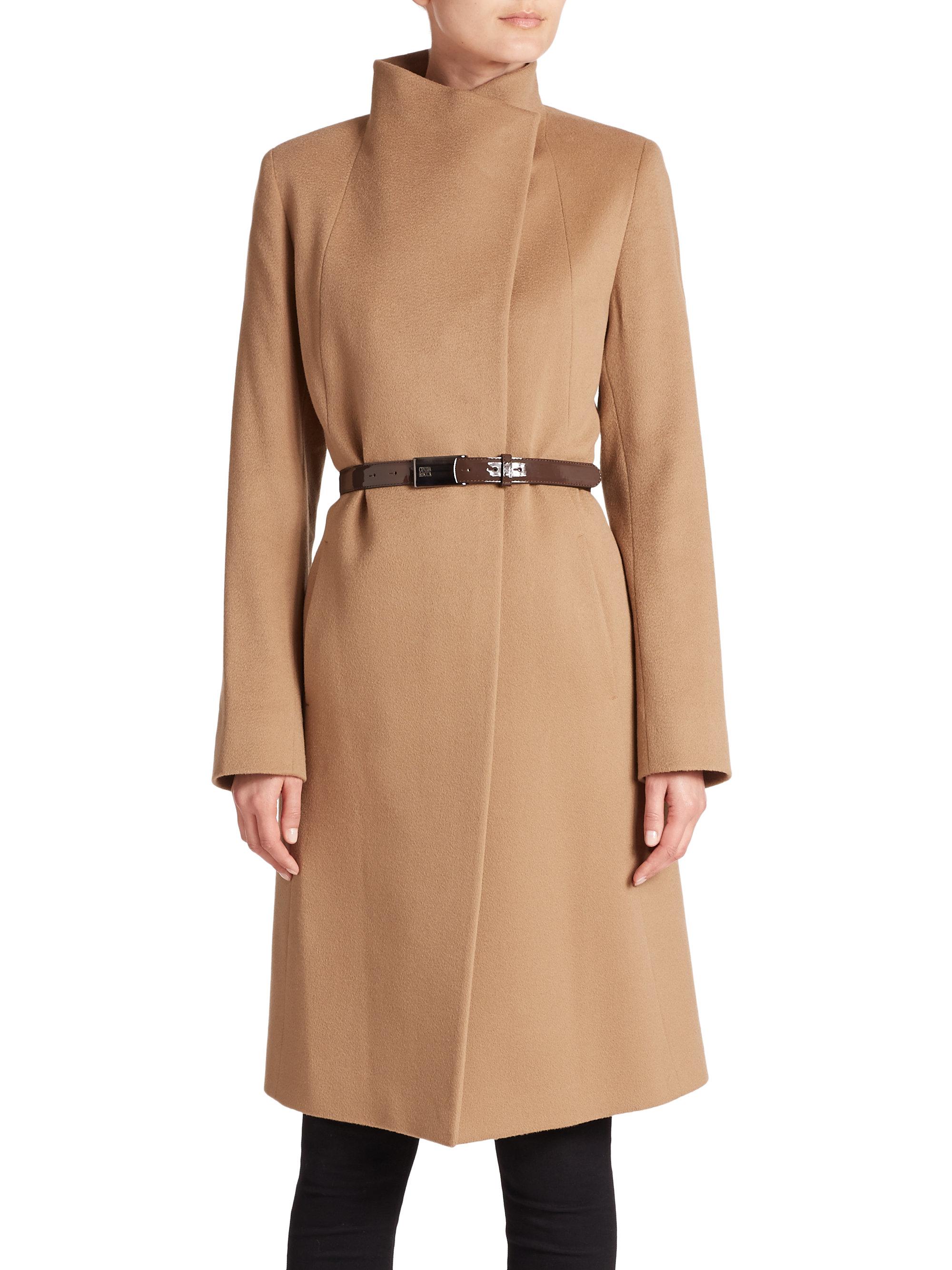 Cinzia rocca Belted Cashmere Coat in Natural | Lyst