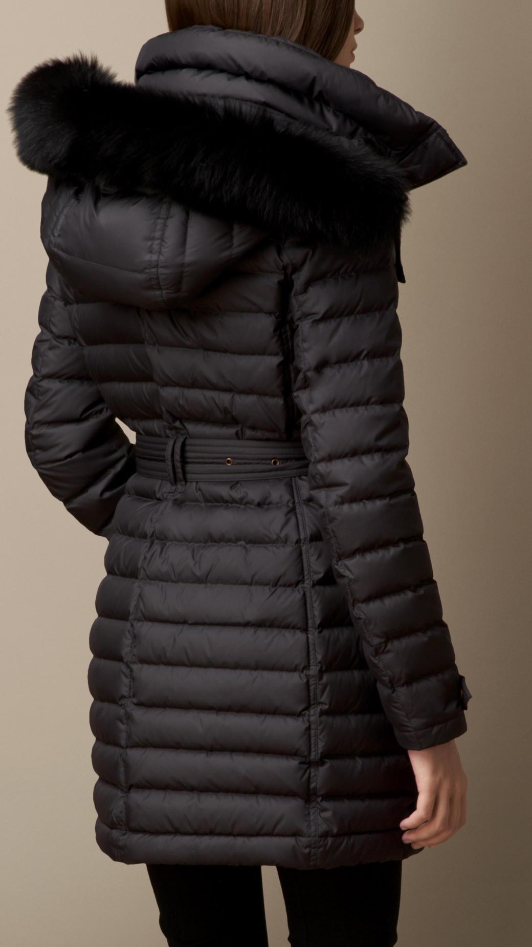 1213d59c1dd8 Lyst - Burberry Fur Trim Down-Filled Puffer Coat in Black