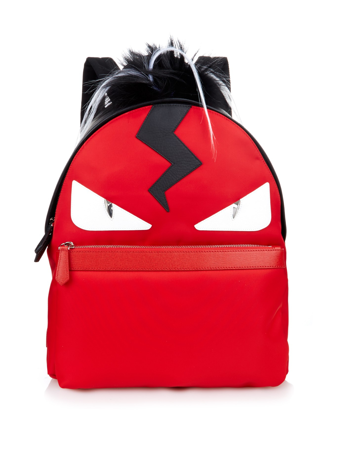 f1dc63af7322 Lyst - Fendi Bag Bugs Leather And Nylon Backpack in Red for Men