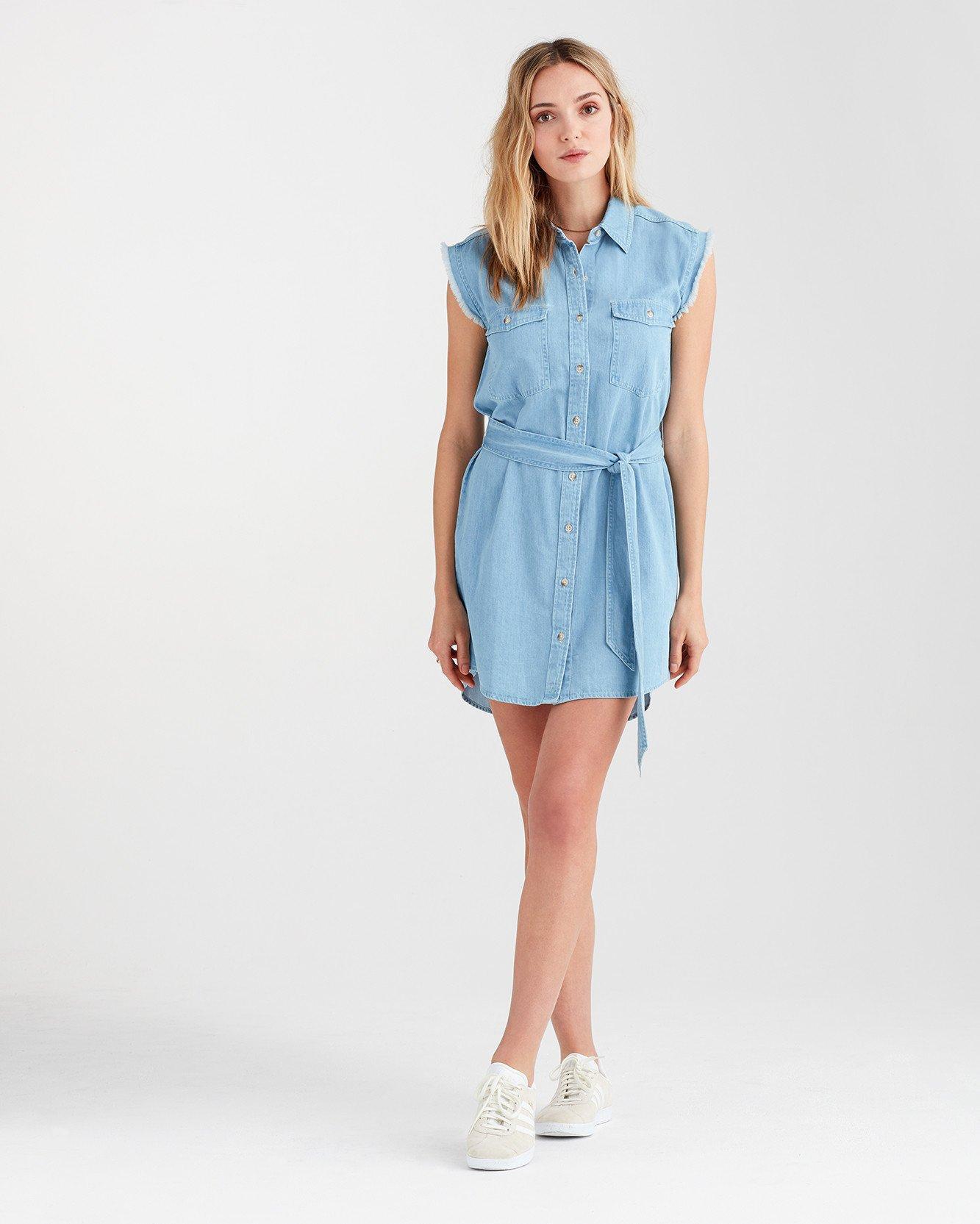 3552cc0a2ab15f Lyst - 7 For All Mankind Cut Off Sleeve Shirt Dress In Soft Blue ...