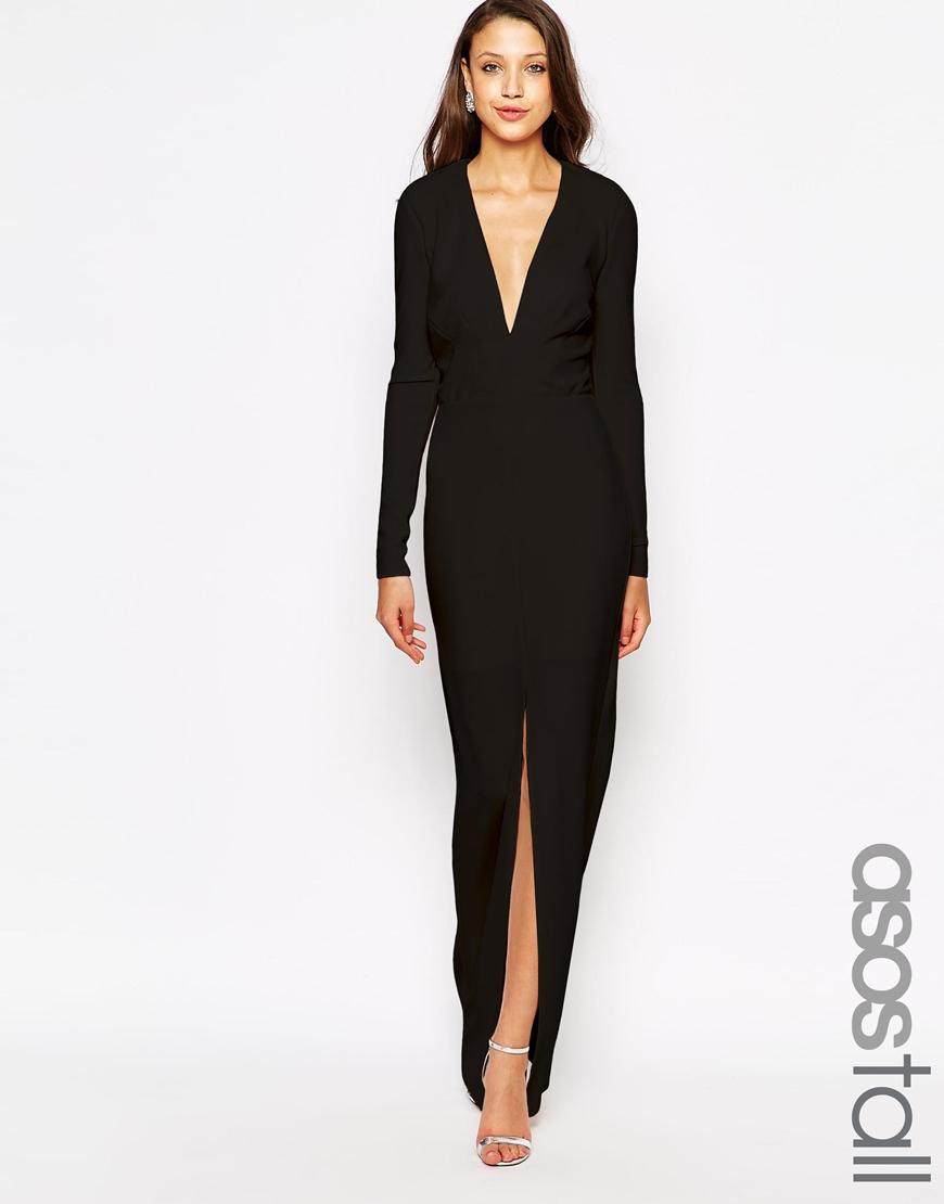 Asos deep plunge maxi dress burgundy black images