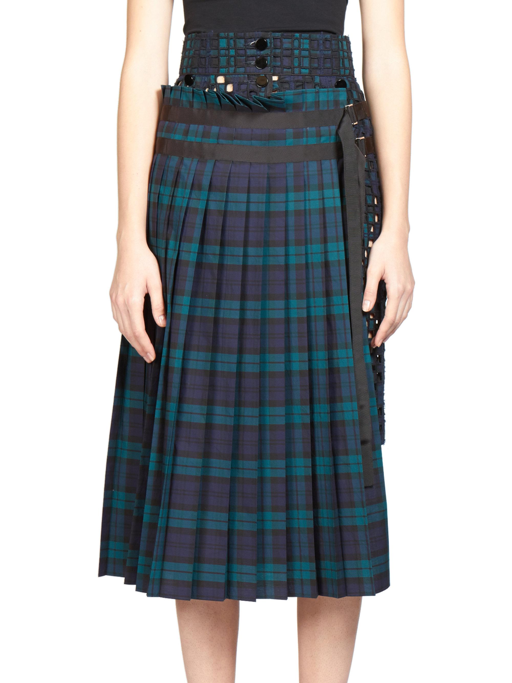 sacai layered plaid cut out skirt in blue lyst