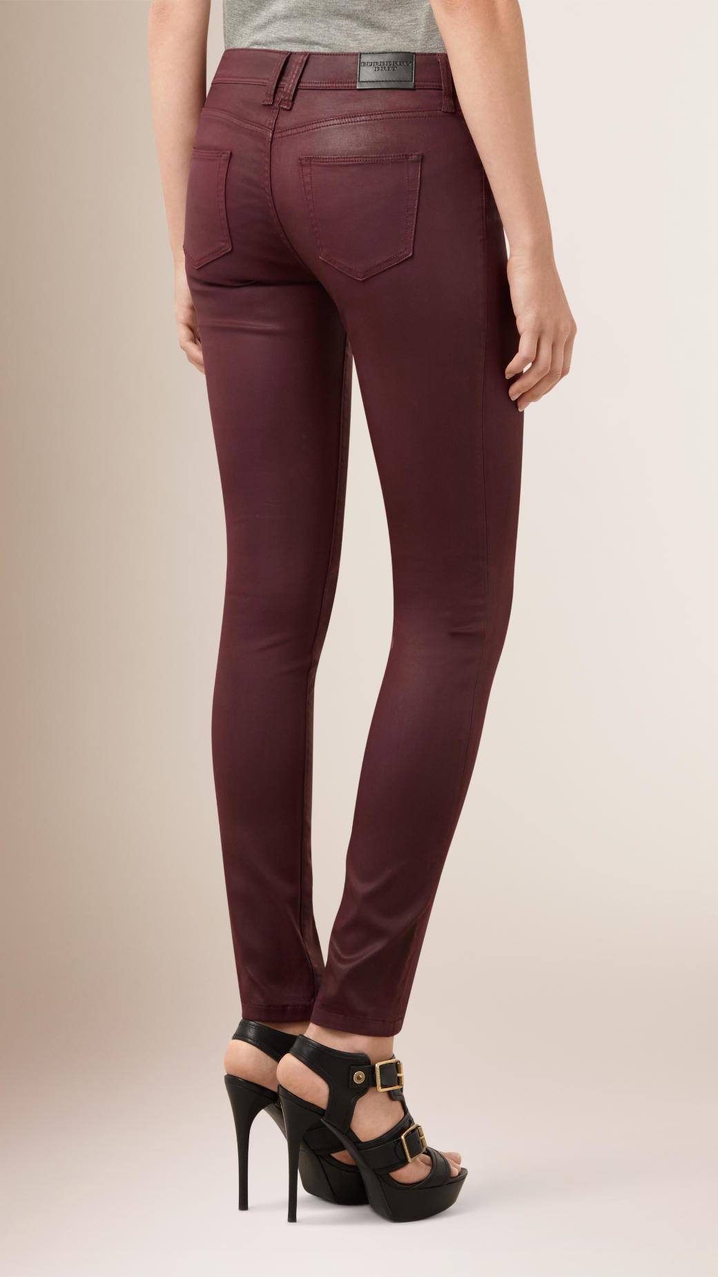Maigre Ajustement Cire De Faible Hauteur Des Jeans Enduits - Noir Burberry nAwp0jAk5a