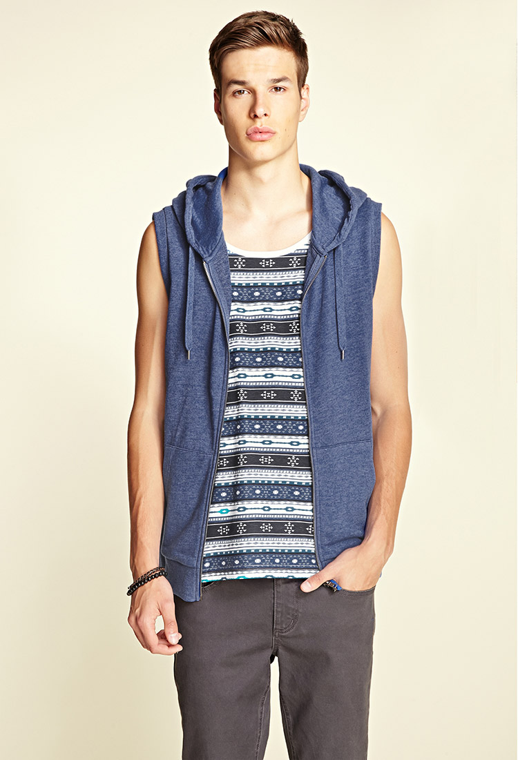 Forever 21 Sleeveless Hoodie in Blue for Men | Lyst