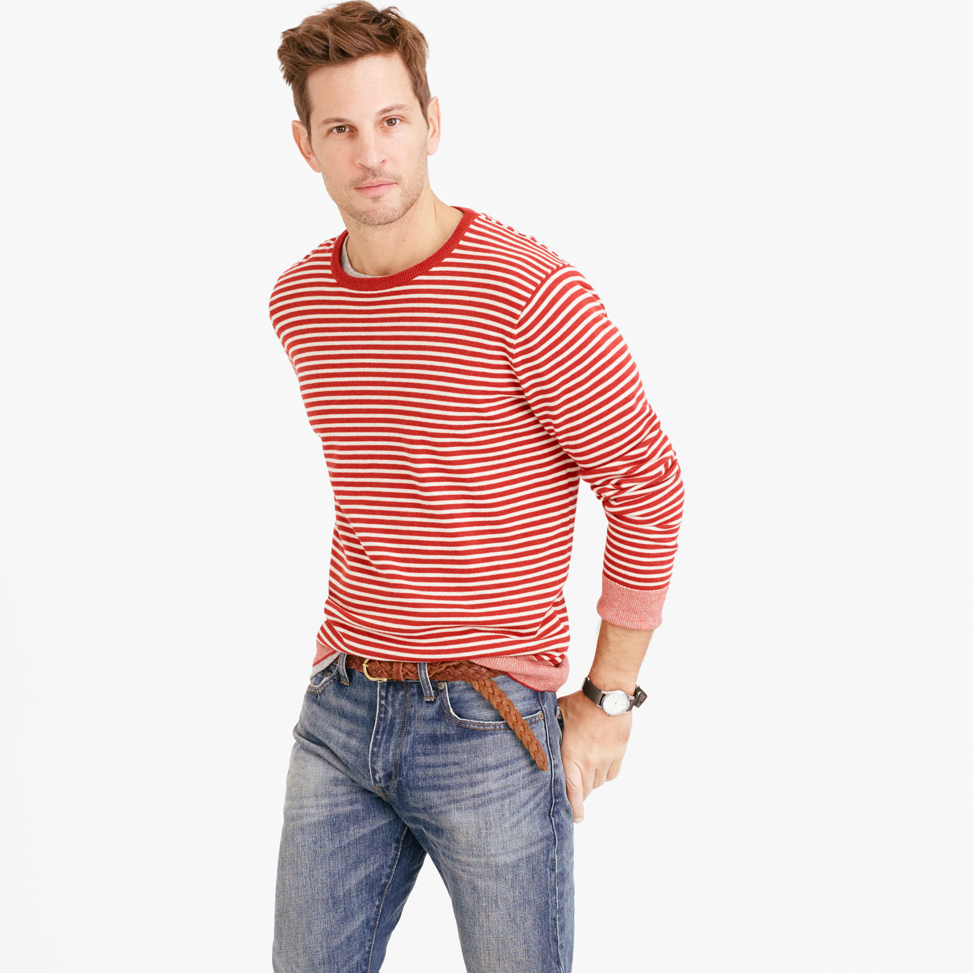 J.crew Cotton Crewneck Sweater In Red Stripe in Brown for Men | Lyst