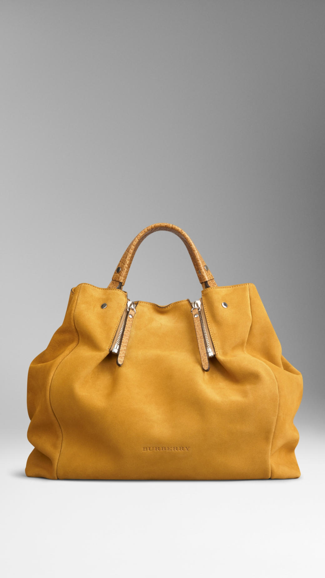 cd4f374af467 Burberry Large Suede Tote Bag in Yellow - Lyst