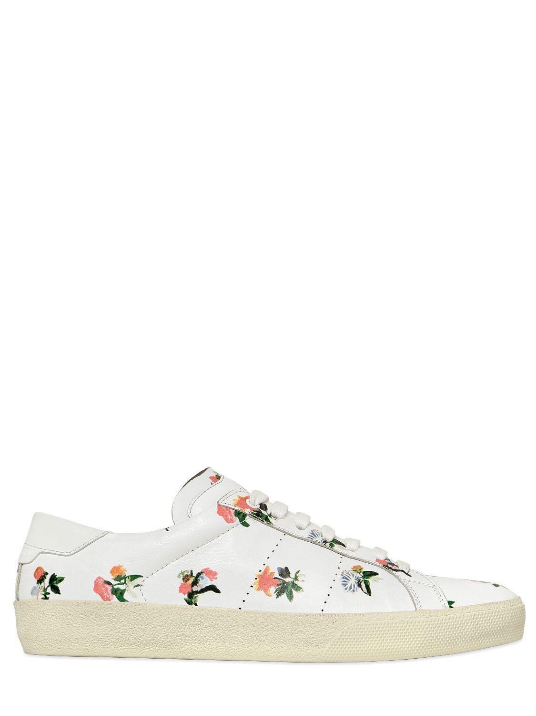 Lyst - Saint Laurent Court Flower Printed Leather Sneakers ed7353fbd92b