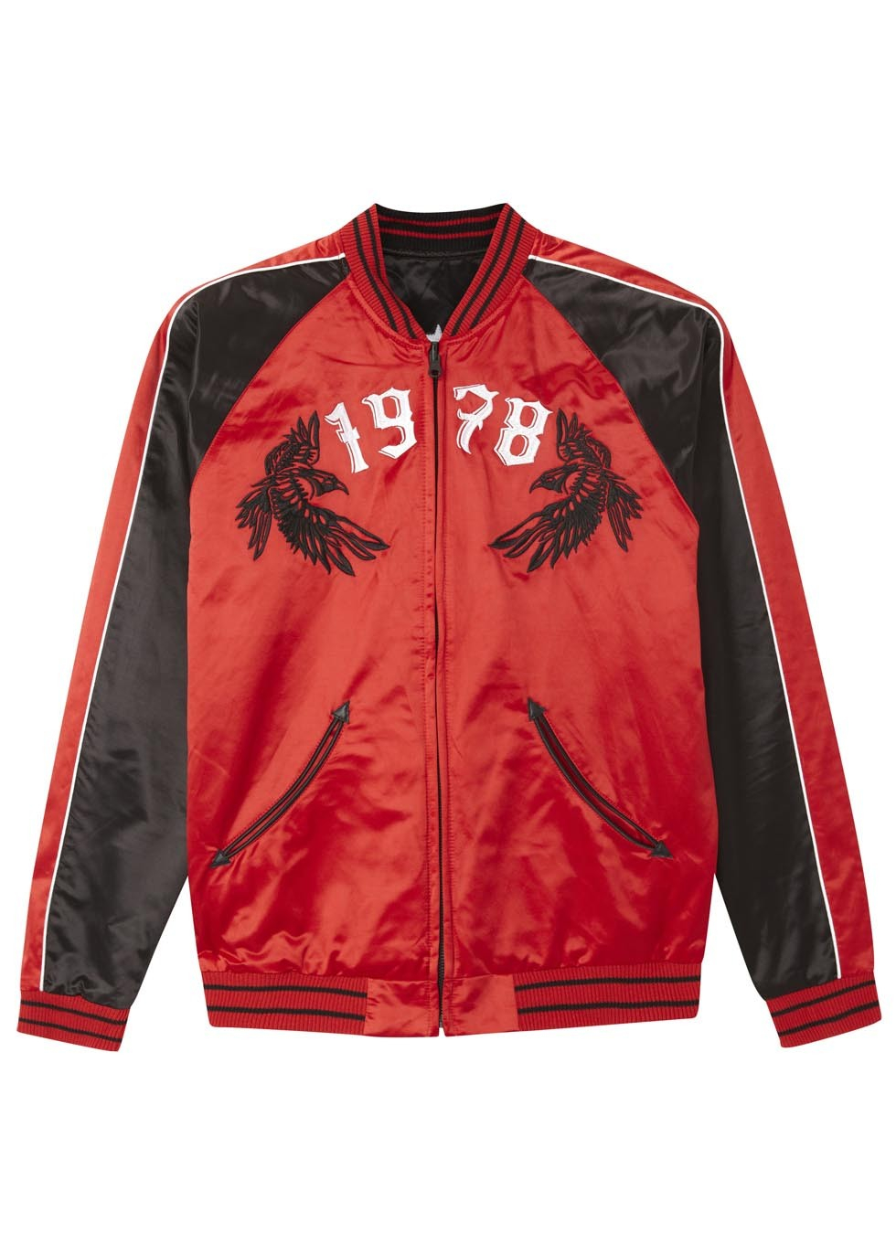 Diesel Red And Black Satin Bomber Jacket In Red For Men Lyst
