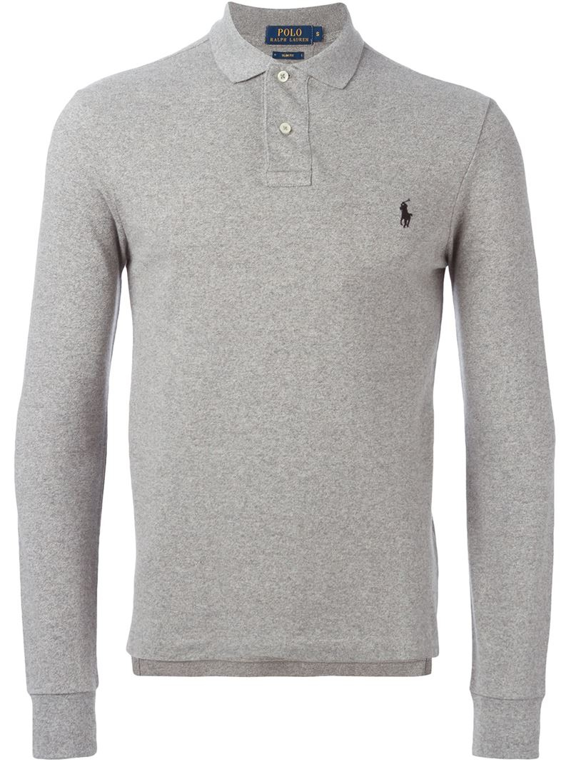 Polo ralph lauren long sleeve polo shirt in gray for men for Grey long sleeve shirts