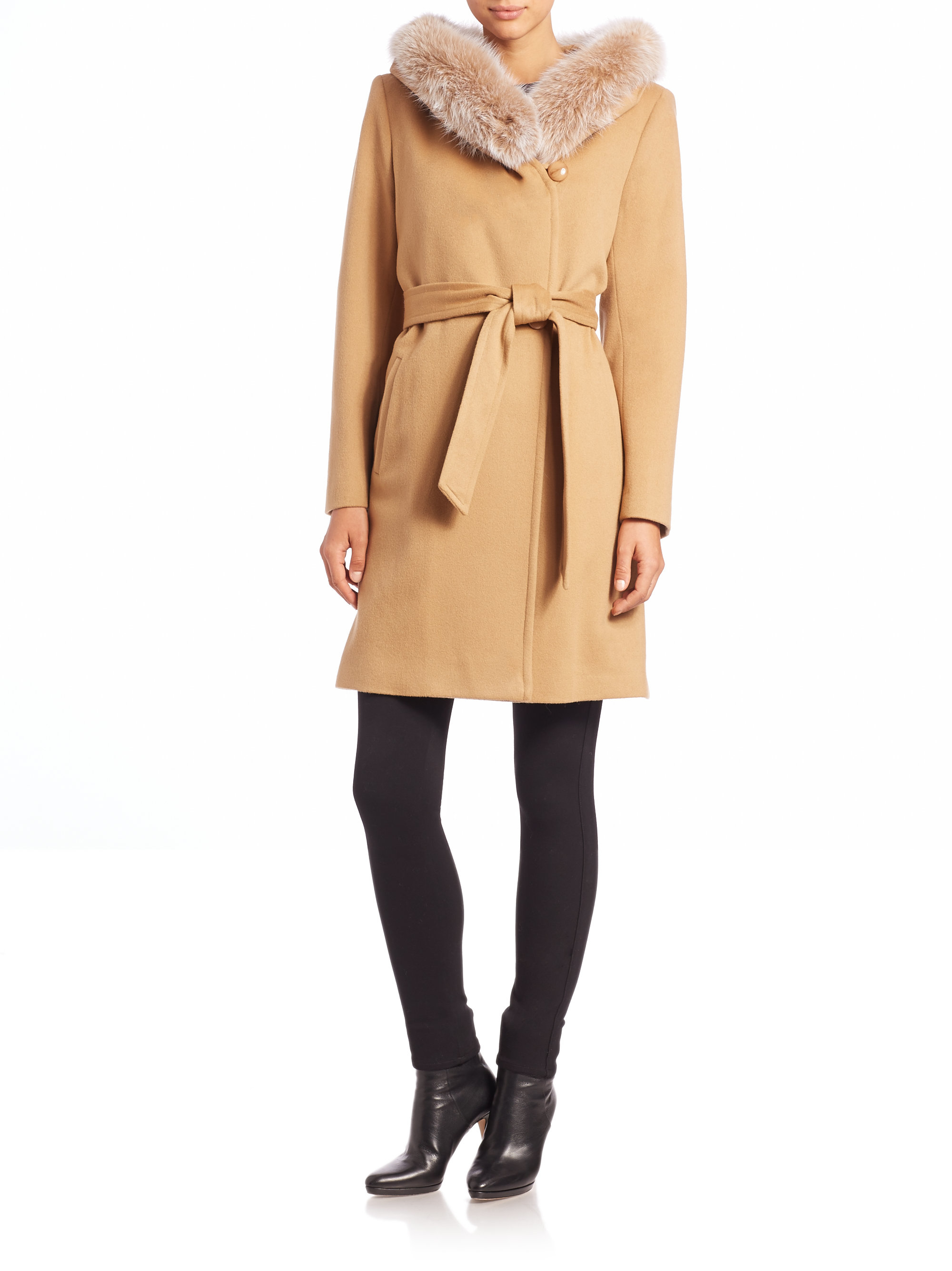 Sofia cashmere Wool & Cashmere Fur-trimmed Hooded Short Wrap Coat ...