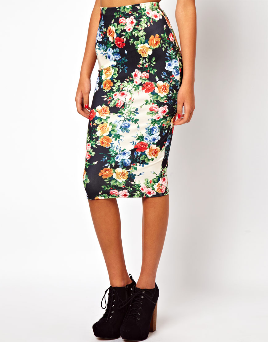 Asos Pencil Skirt in Floral Print | Lyst