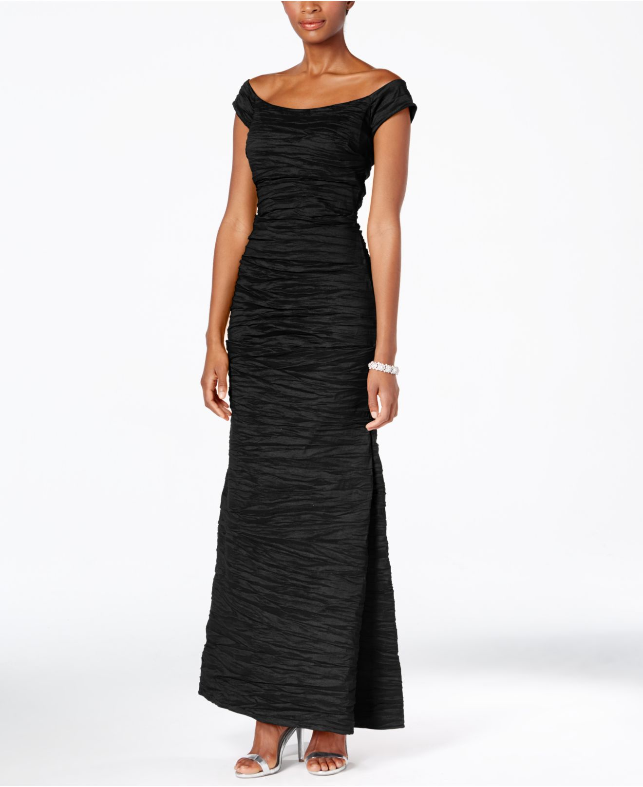 Lyst - Alex Evenings Dress, Off The Shoulder Taffeta Crinkle Gown in ...