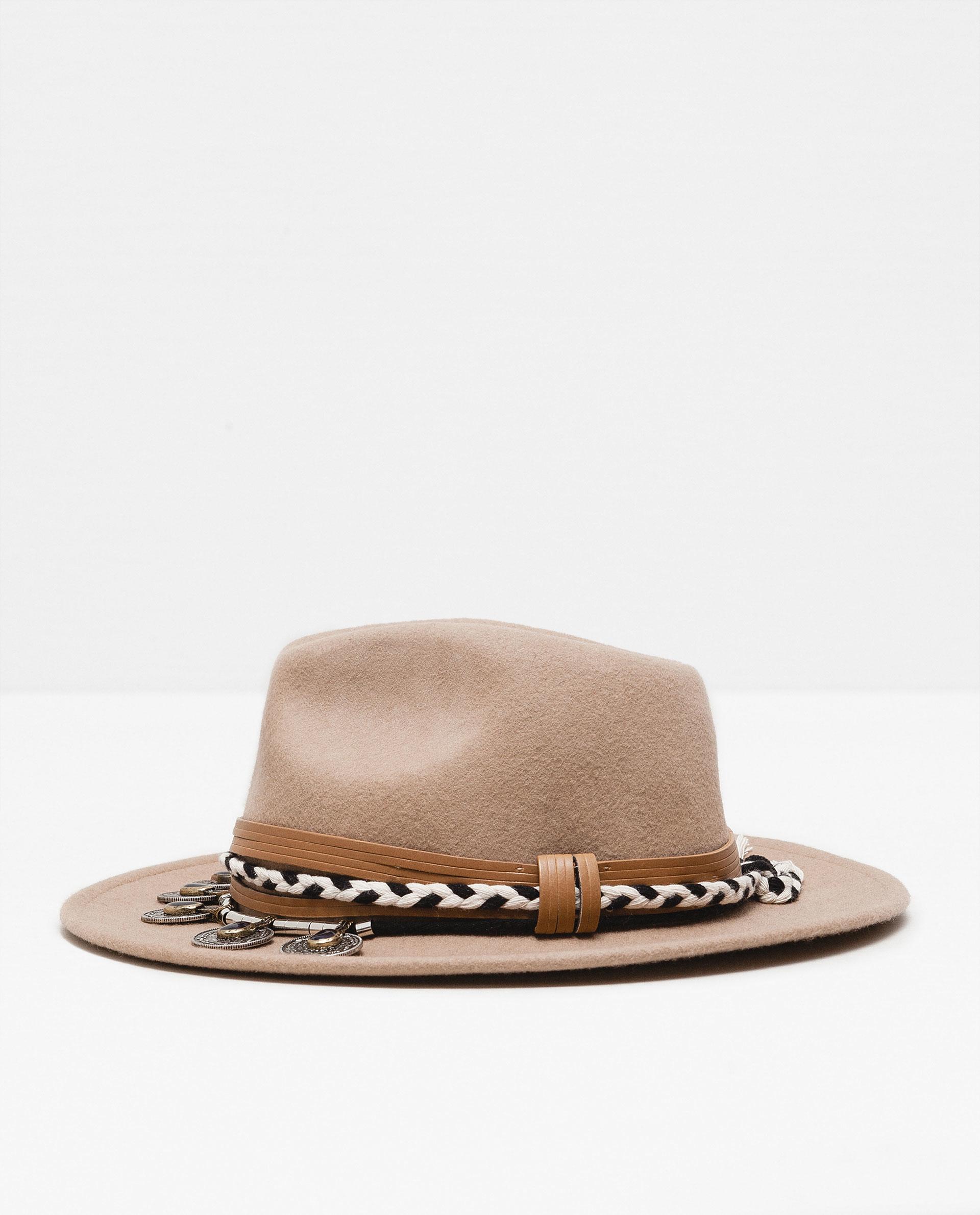zara felt coin hat in brown lyst