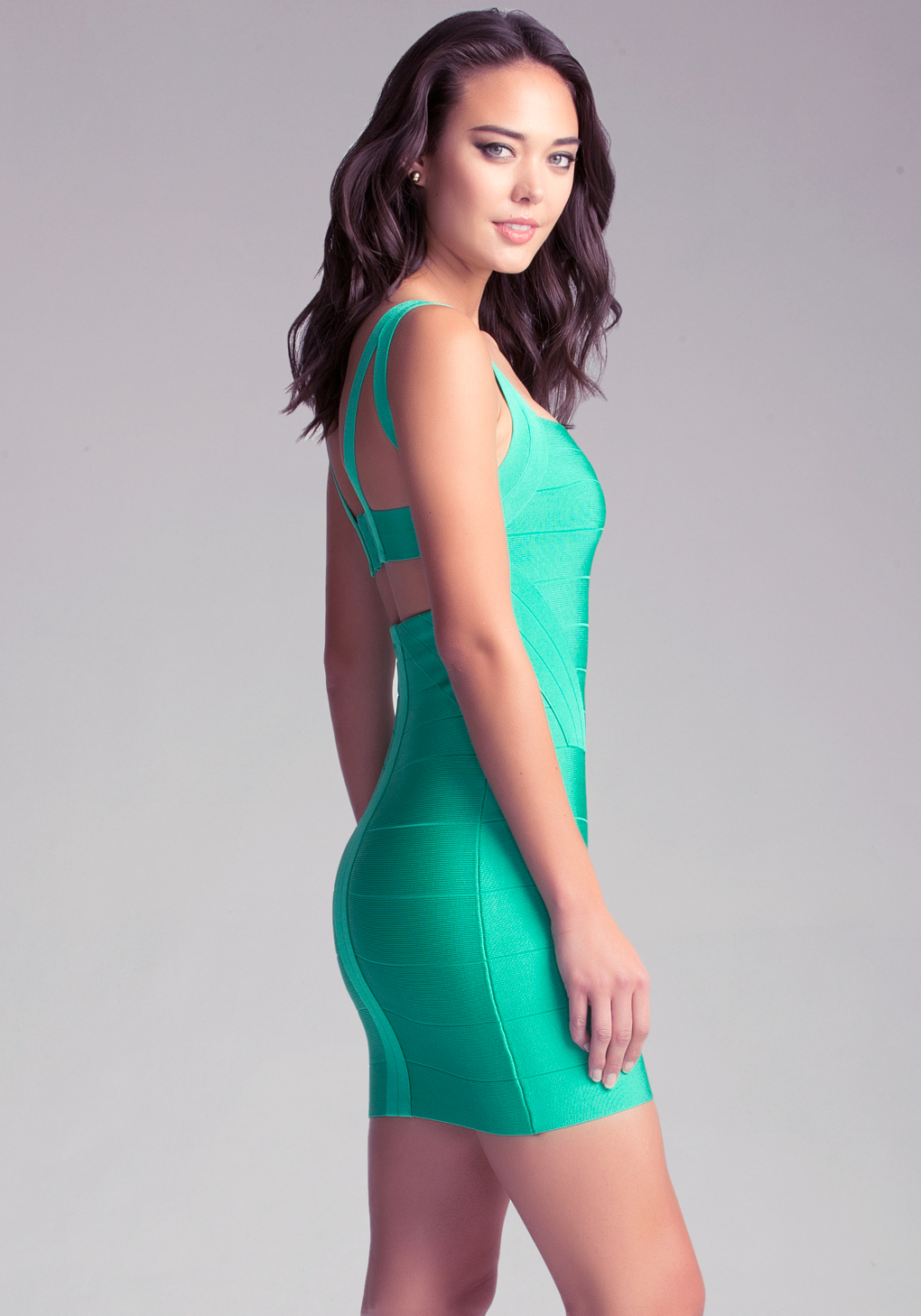 Lyst Bebe Strap Bandage Dress In Green