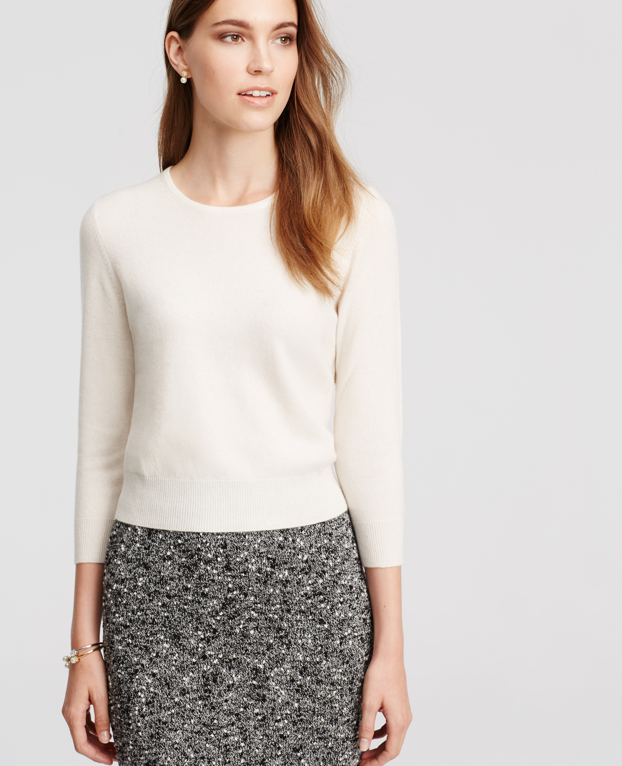 Ann taylor Cropped Cashmere Sweater in White | Lyst