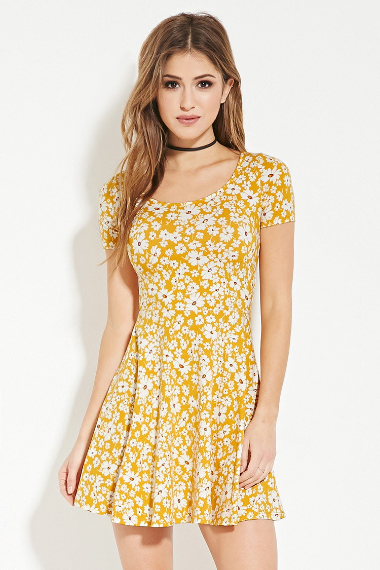 541acb70d87 Forever 21 Floral Print Skater Dress in Yellow - Lyst