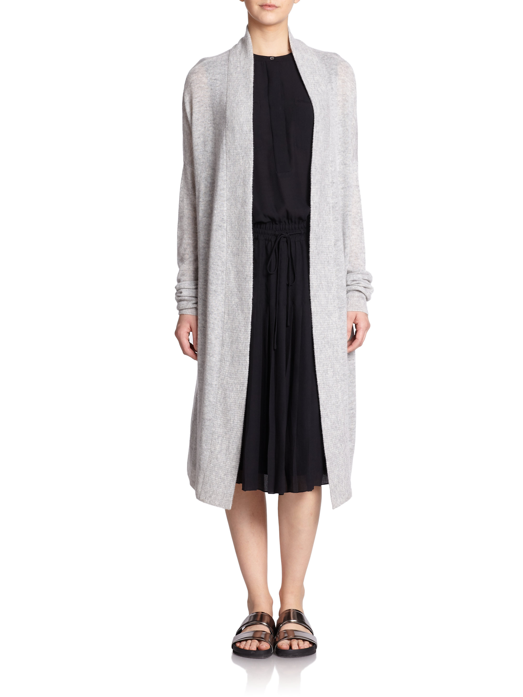 Vince Long Wool & Cashmere Cardigan in Gray | Lyst