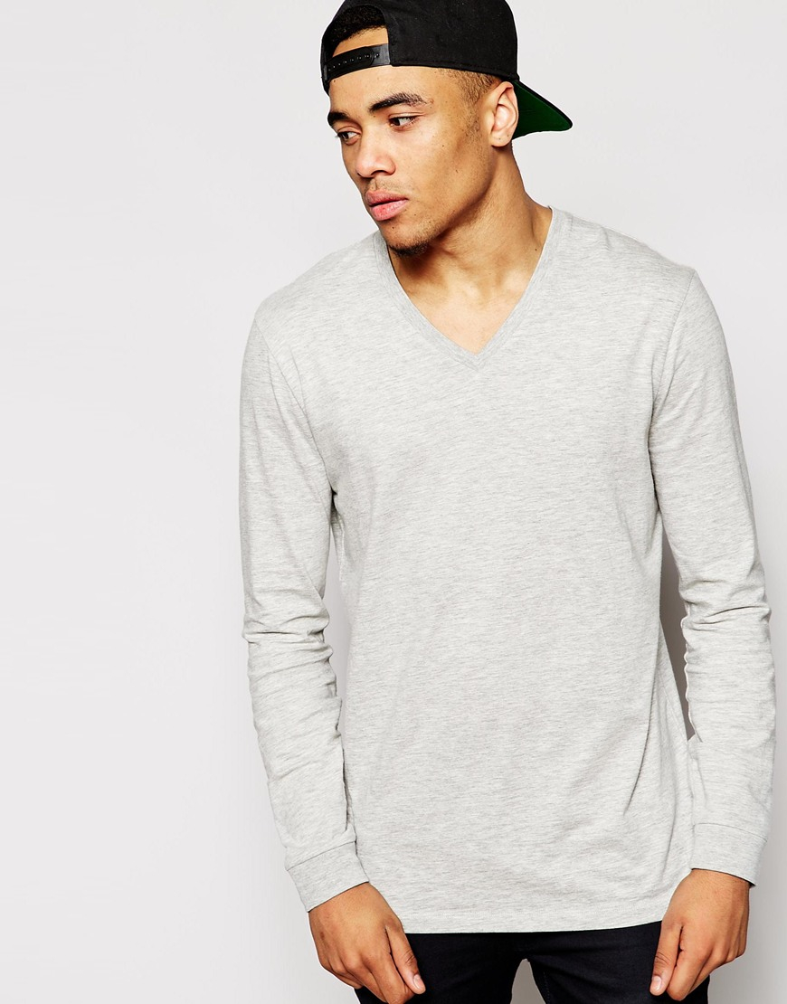 Lyst Asos Longline Long Sleeve T Shirt With V Neck In