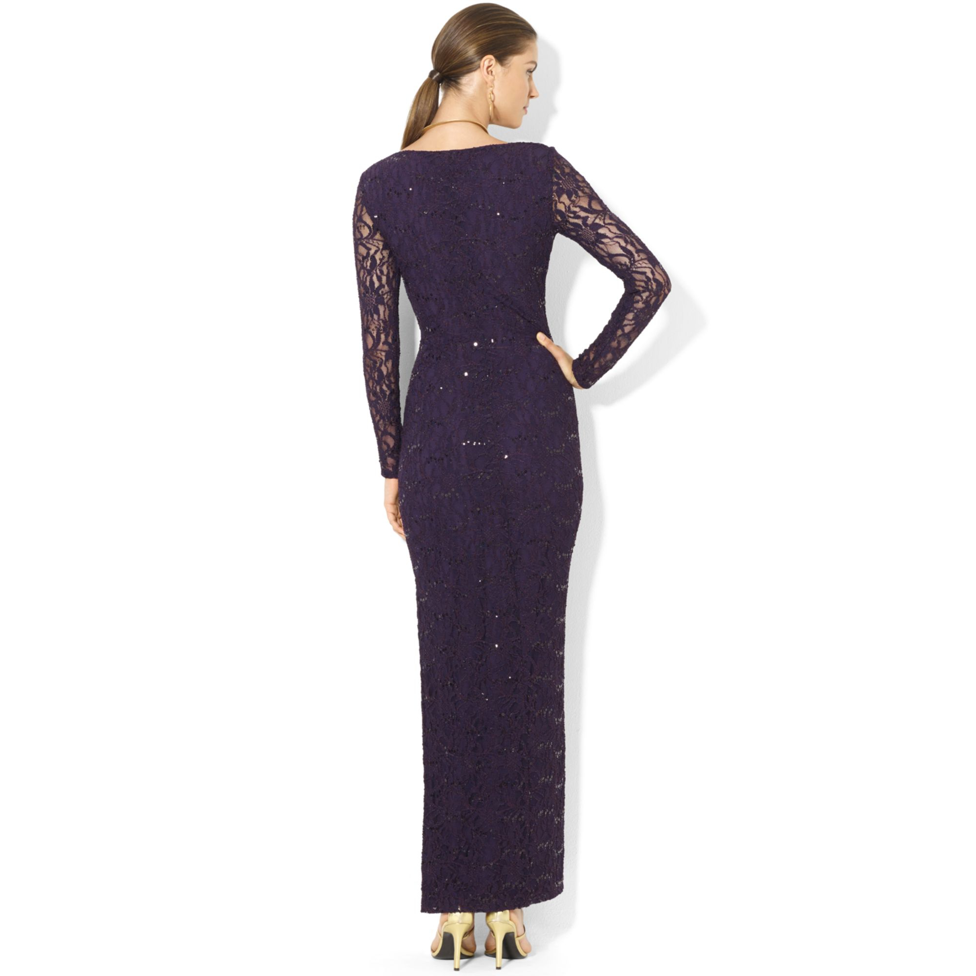 lauren by ralph lauren longsleeve lace sequin gown in blue lyst. Black Bedroom Furniture Sets. Home Design Ideas