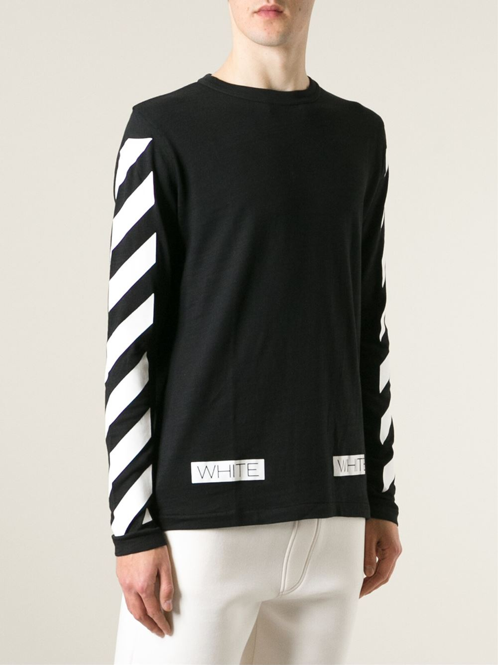 Off-white c/o virgil abloh Striped Sweater in Black for Men | Lyst