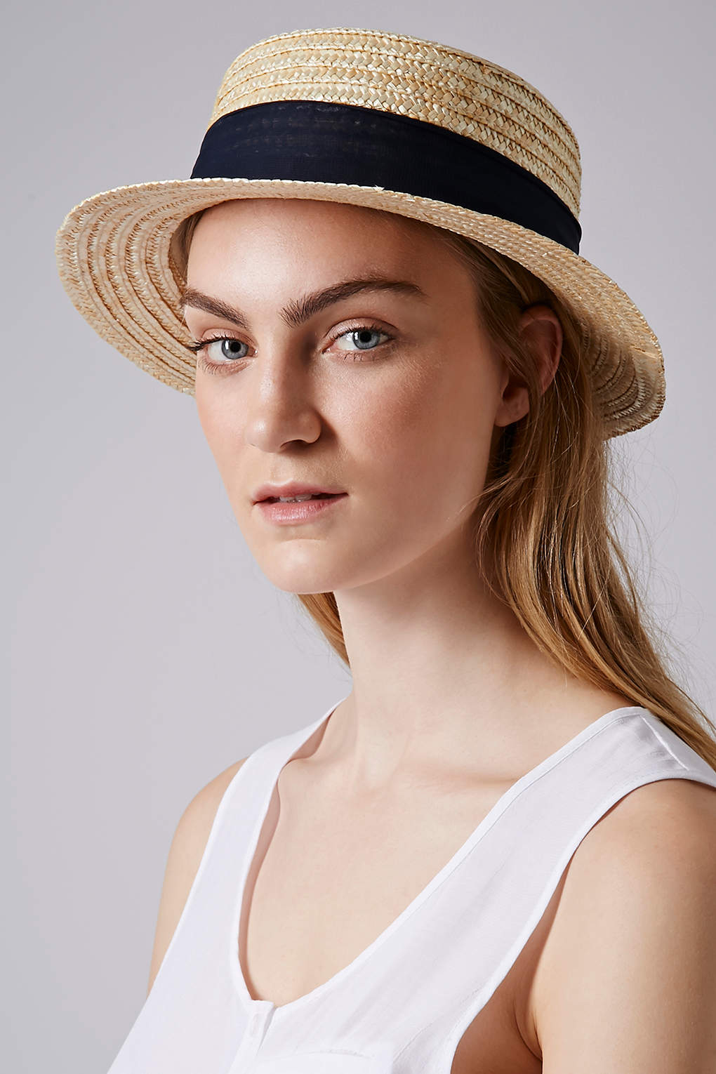Lyst - TOPSHOP Narrow Brim Boater Hat in Natural 7d5079be4d9