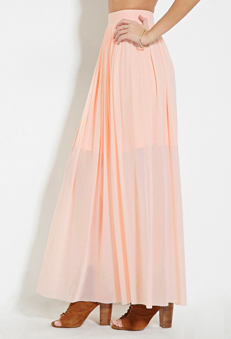 Forever 21 Tulle Maxi Skirt in Pink | Lyst