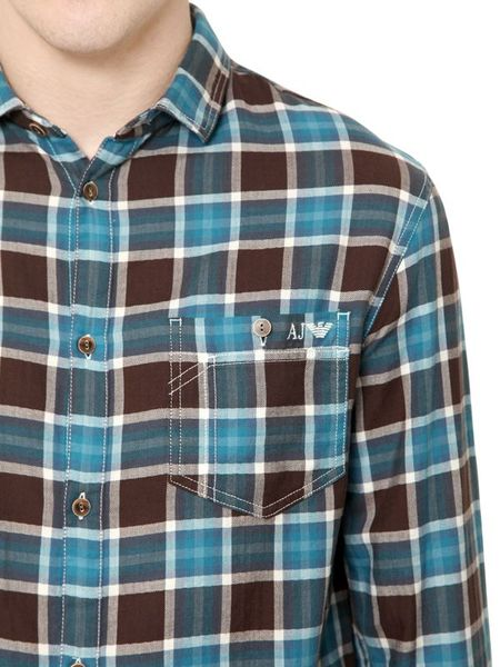 Armani Jeans Checked Light Cotton Flannel Shirt In Blue