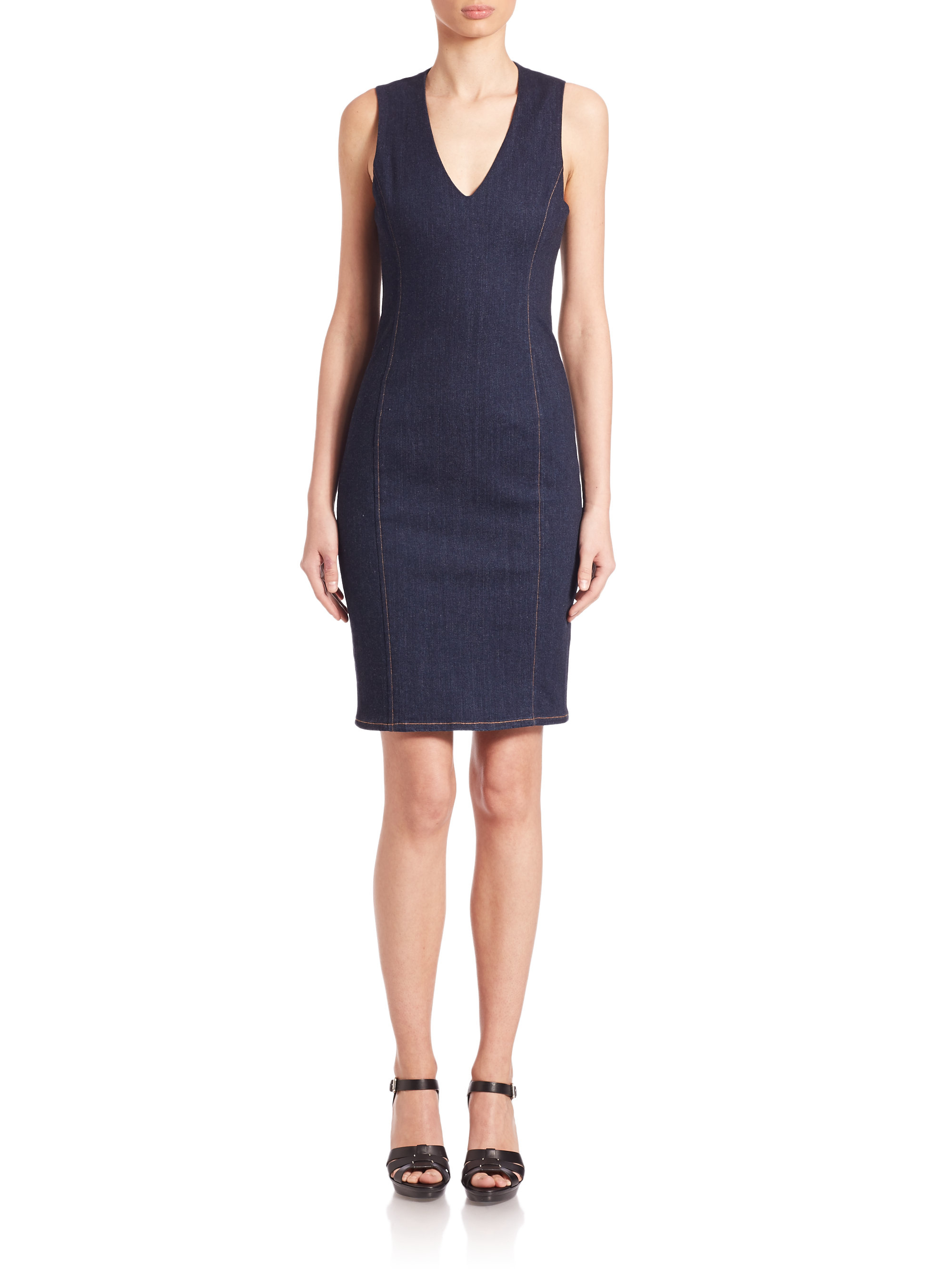 Polo ralph lauren Denim Sheath Dress in Blue | Lyst